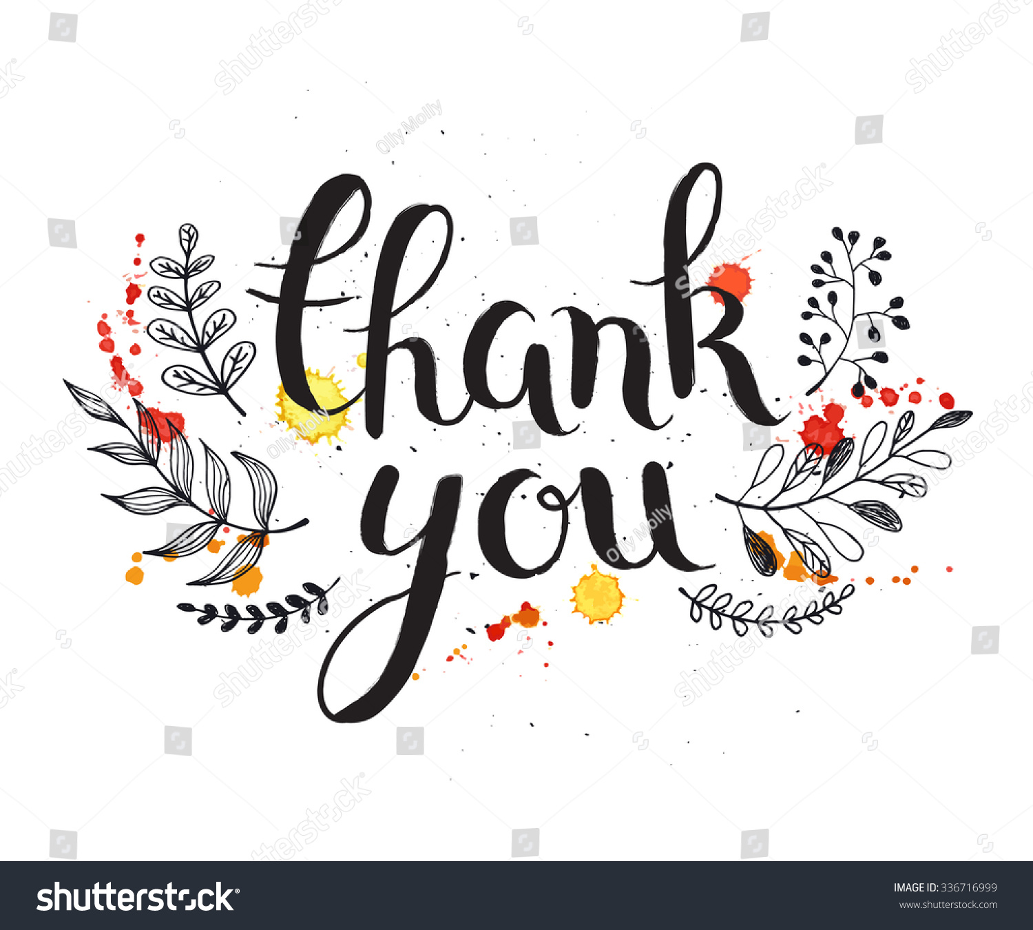 Thank you card watercolor splashes floral stock vector