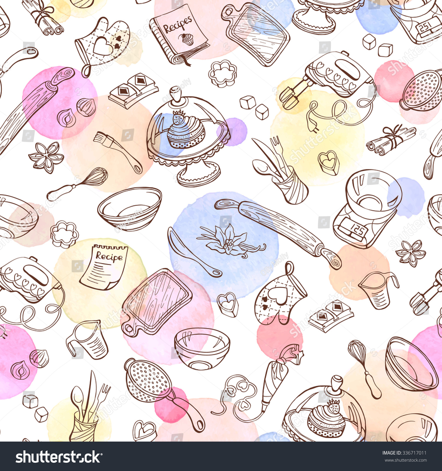 baking doodle background vector seamless pattern stock