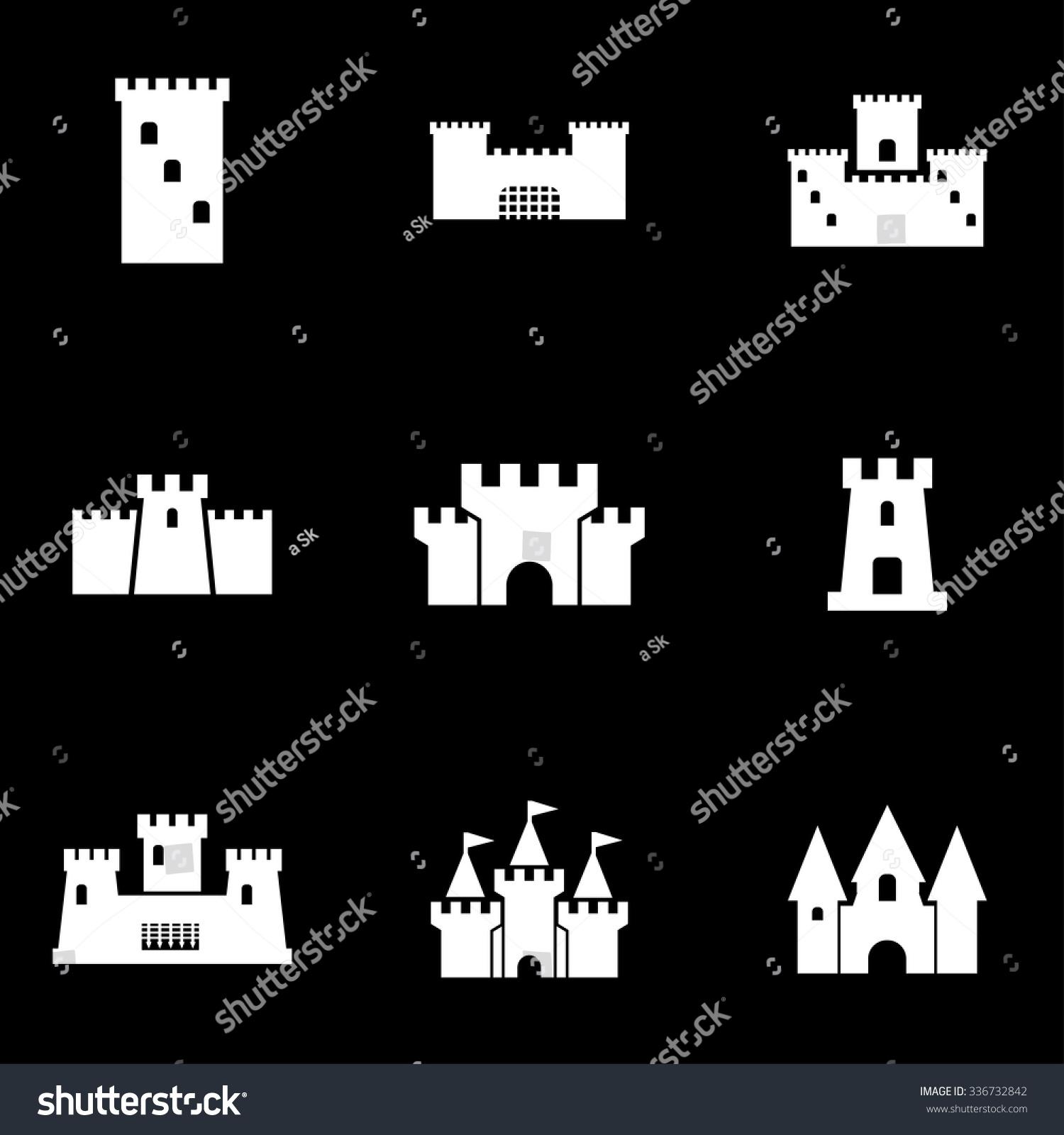 vector white castle icon set stock vector 336732842 - shutterstock