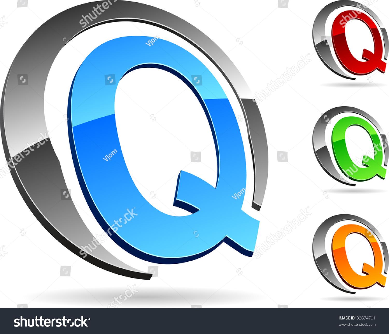 Letter  Q  3d Ve...Q Logo 3d