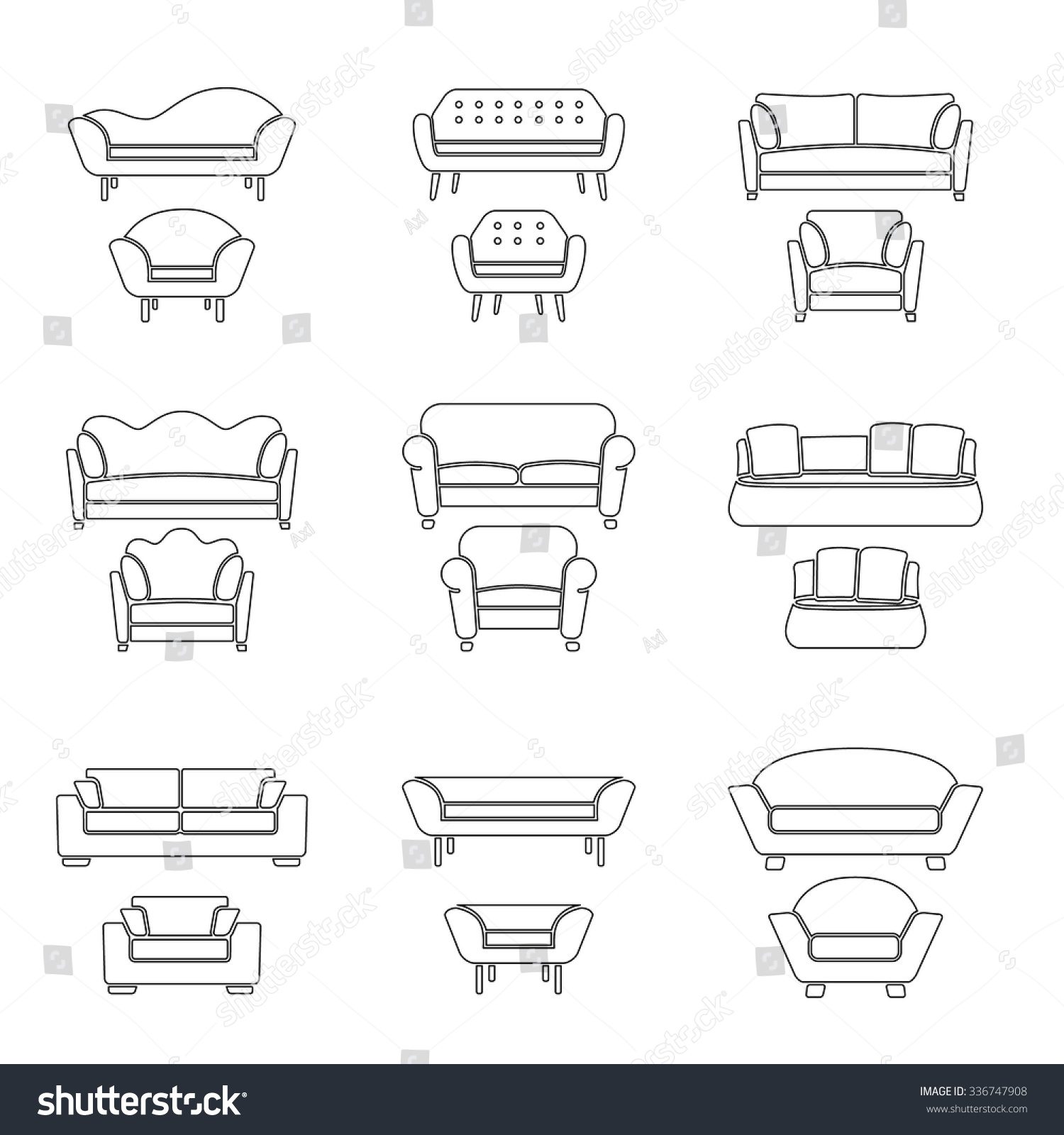 Vector sofa and armchair outline icons isolated. Interior elements collection. Furniture shapes.