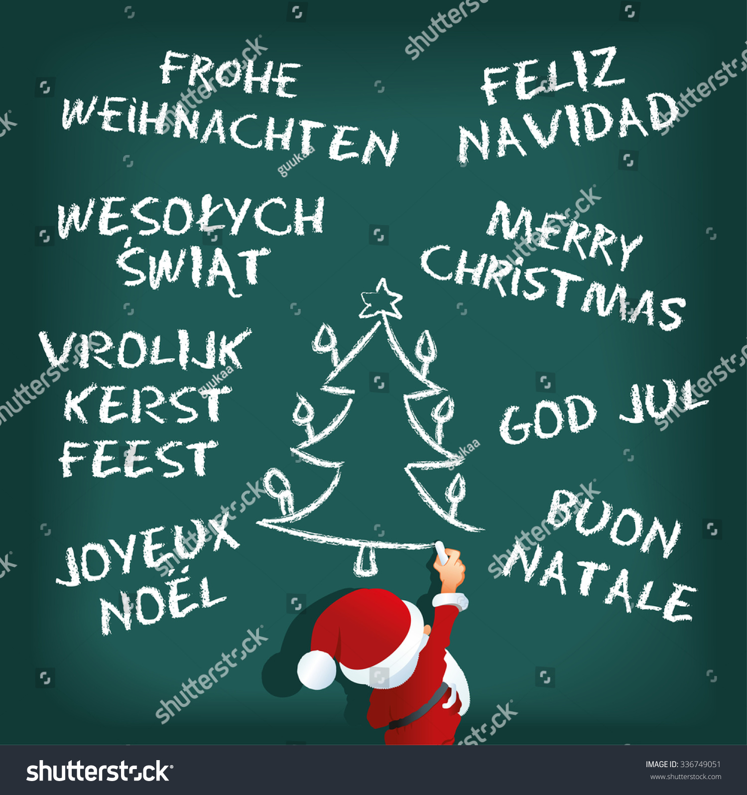 vector illustration of santa claus writing merry christmas in different languages
