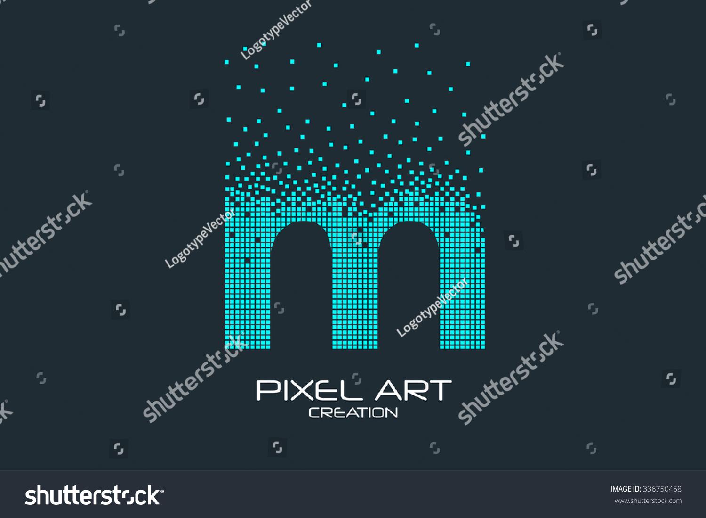Pixel Art Design : Pixel art design m letter logo stock vector