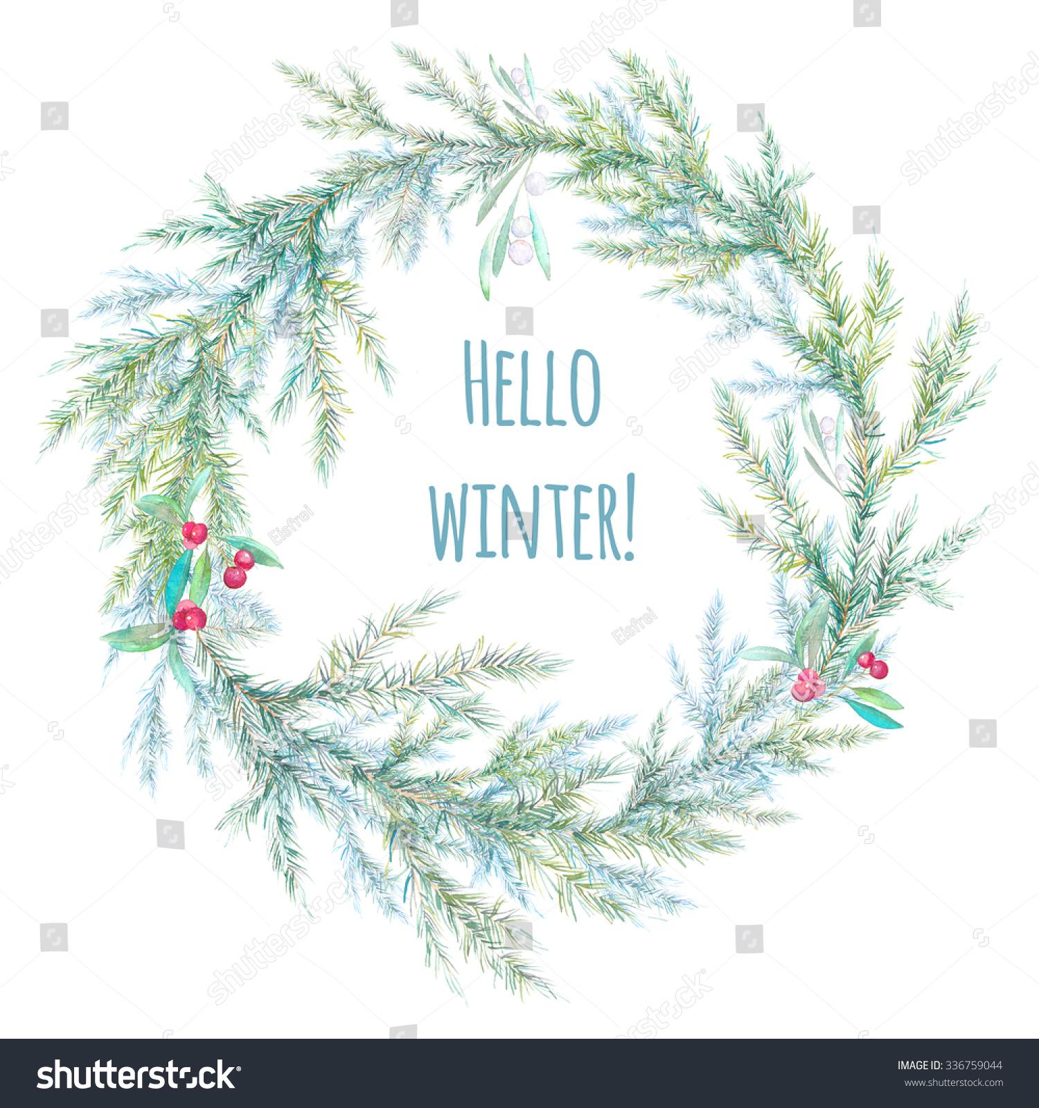 Hello Winter Watercolor Christmas Tree Holly Stockillustration ...
