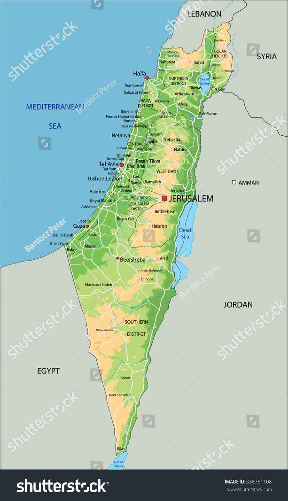 High Detailed Israel Physical Map Labeling Stock Photo Photo