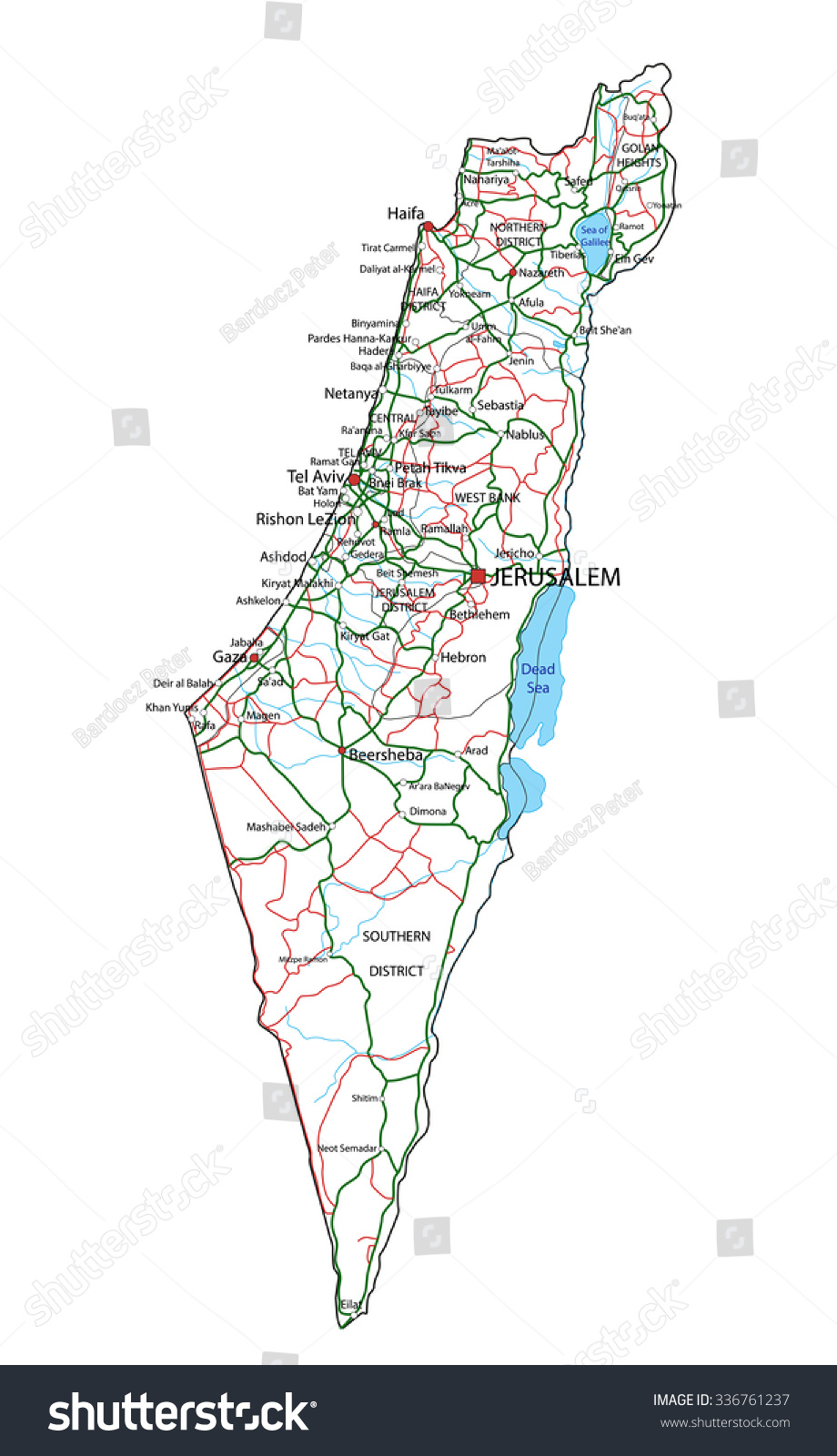 Royaltyfree Israel road and highway map Vector 336761237 Stock