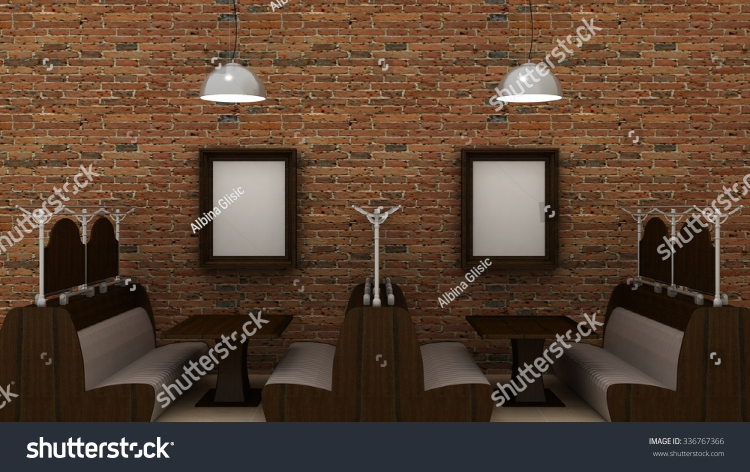 empty picture frames classic cafe interior stock illustration