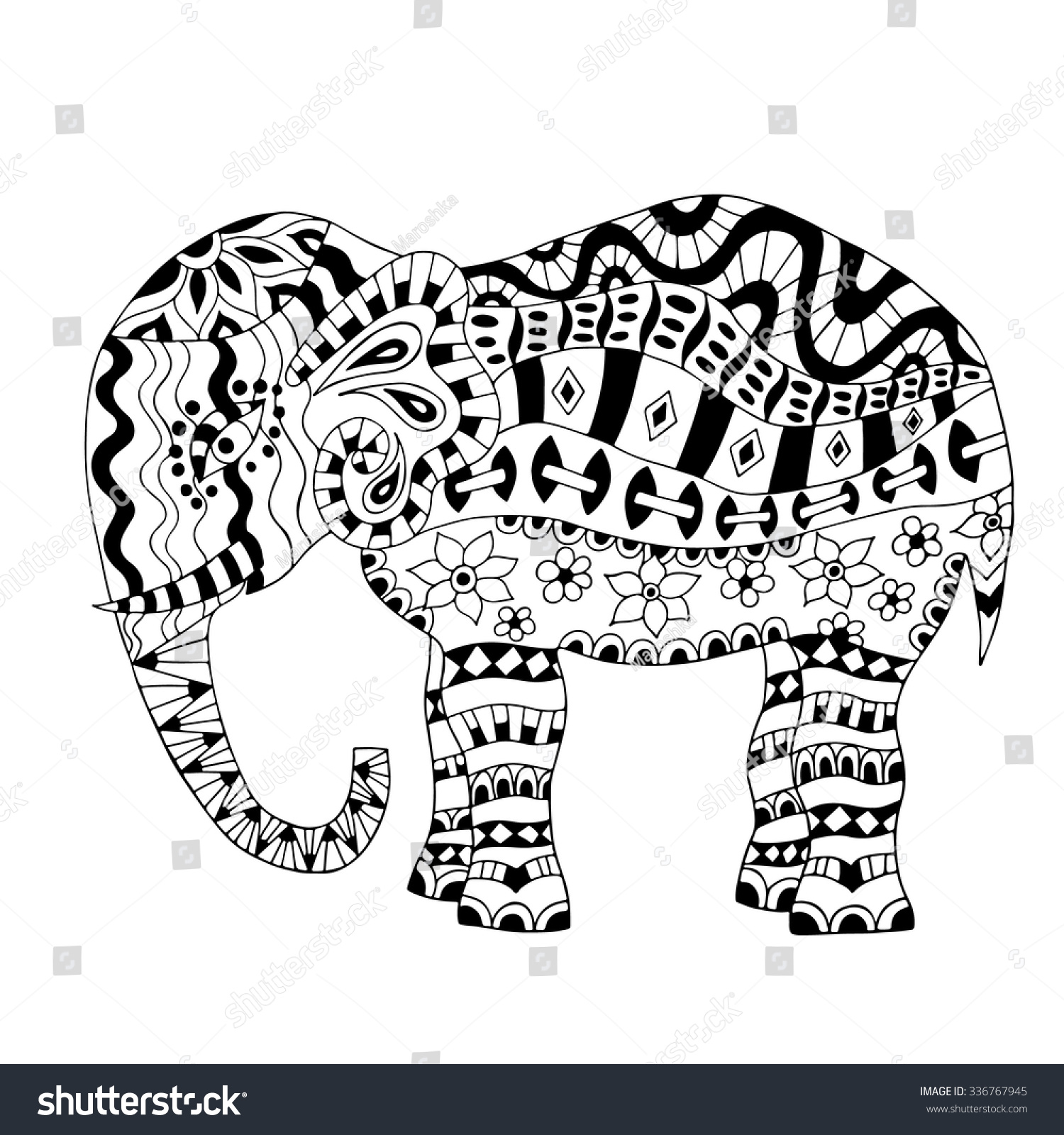 Hand Drawn Elephant Coloring Page Coloring Stock Vector 336767945 ...