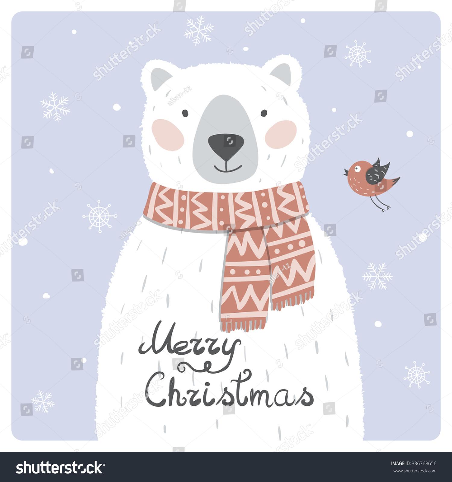 Cute Polar Bear With Red Scarf Vector | EZ Canvas