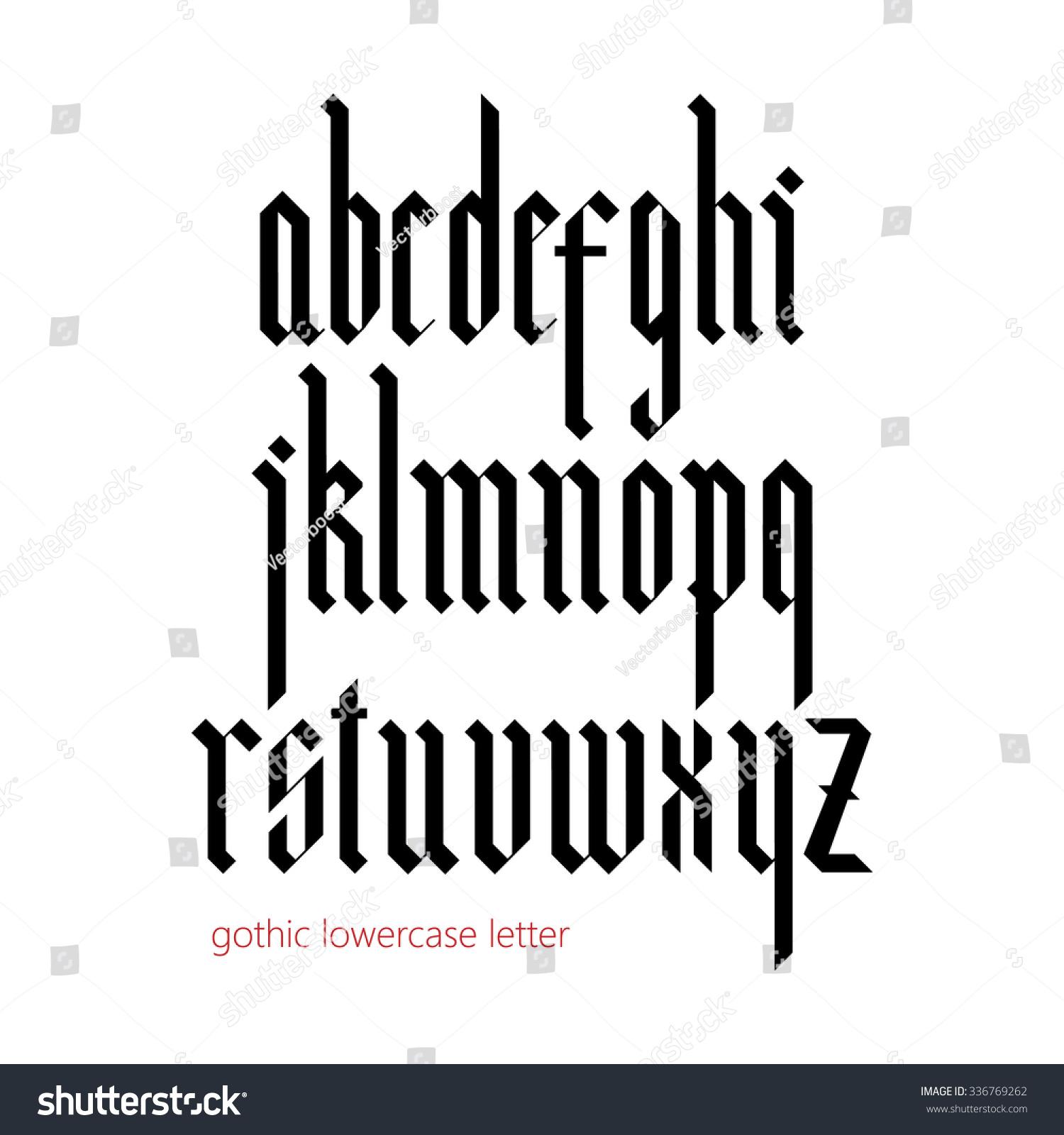 Blackletter Modern Gothic Font All Lowercase Stock Vector