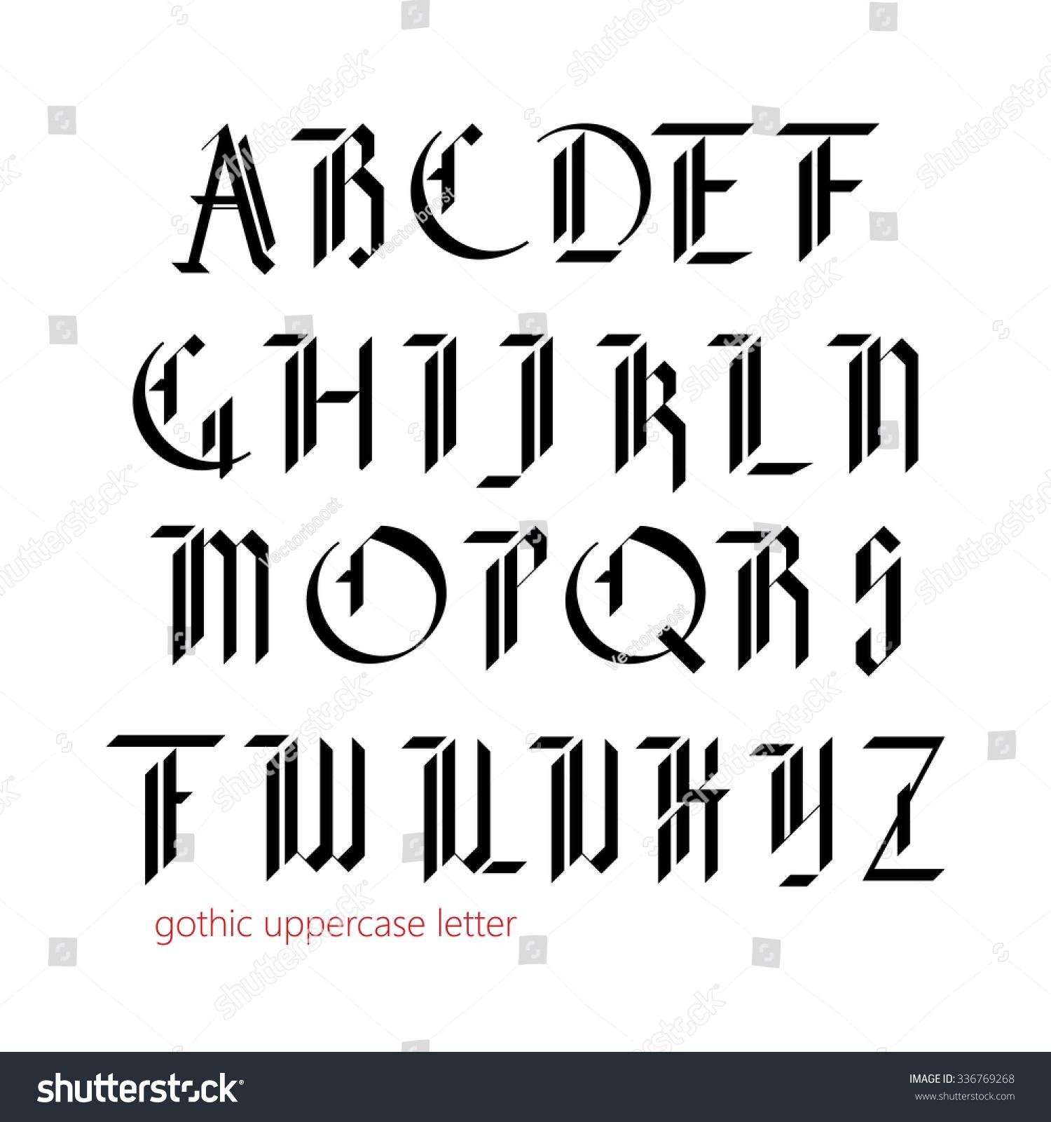 Blackletter modern gothic font all uppercase stock vector