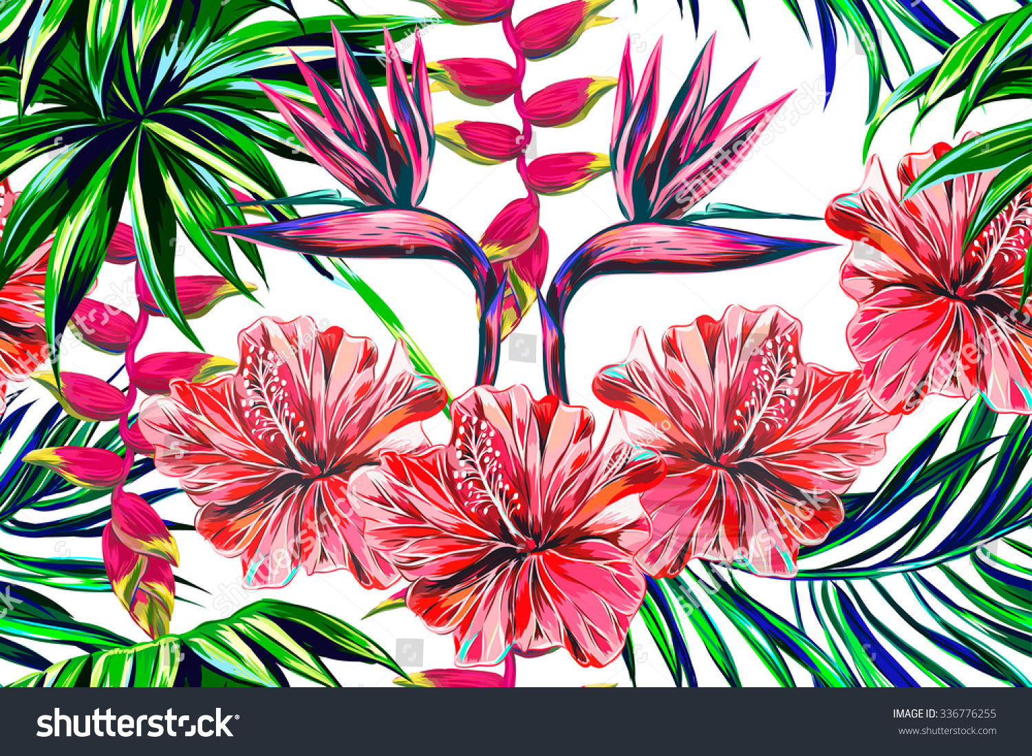 Beautiful Seamless Vector Floral Jungle Pattern Stock Vector ...