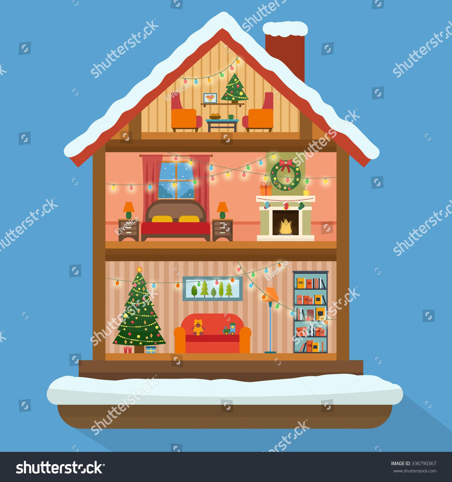 Christmas house cut snow house interior stock vector for Christmas house music