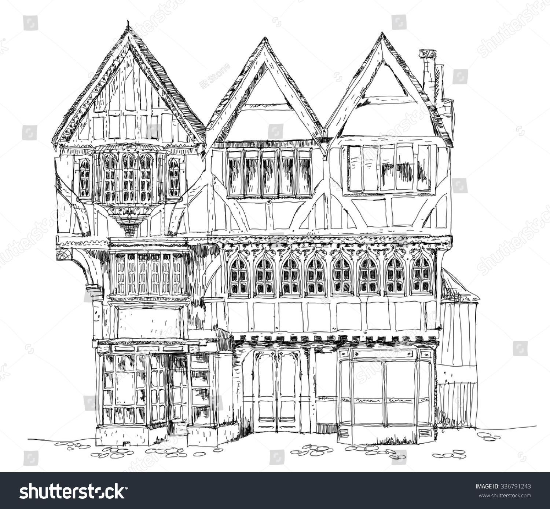 medieval tudor age long house oxford stock vector 336791243
