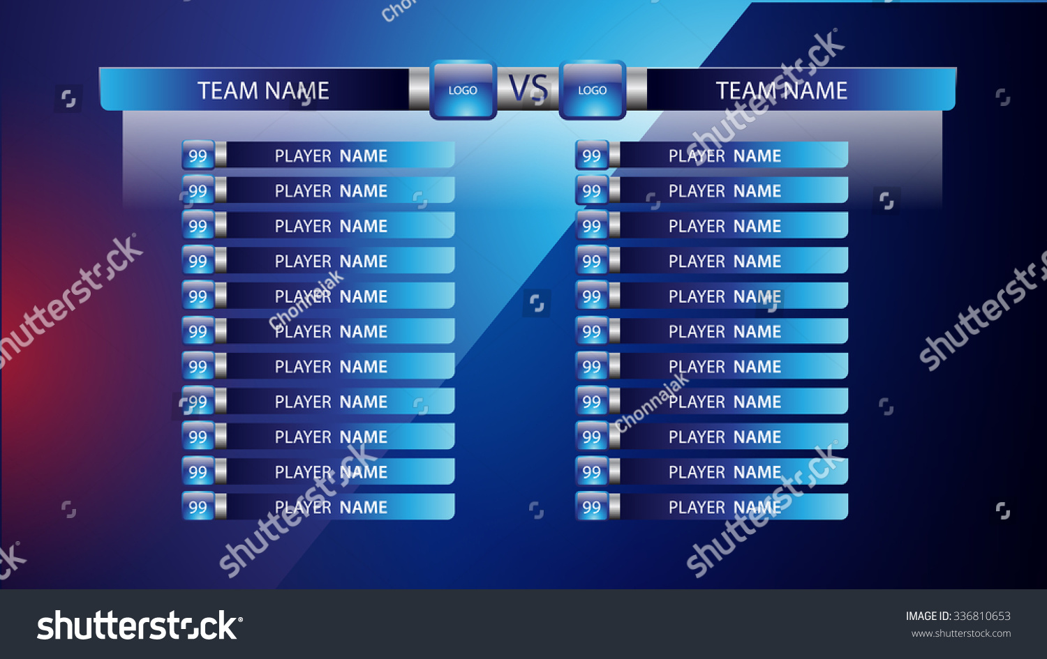 Broadcast graphic football starting lineup squad stock for Soccer starting lineup template