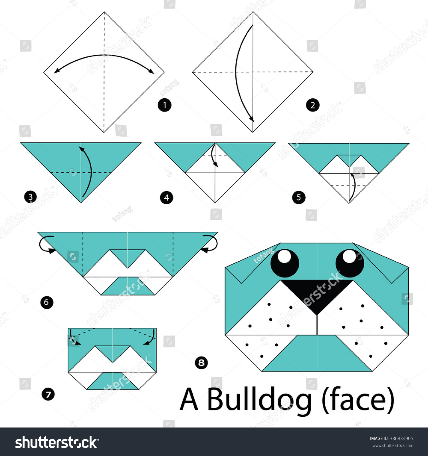 Step By Step Instructions How To Make Origami A Bulldog (face