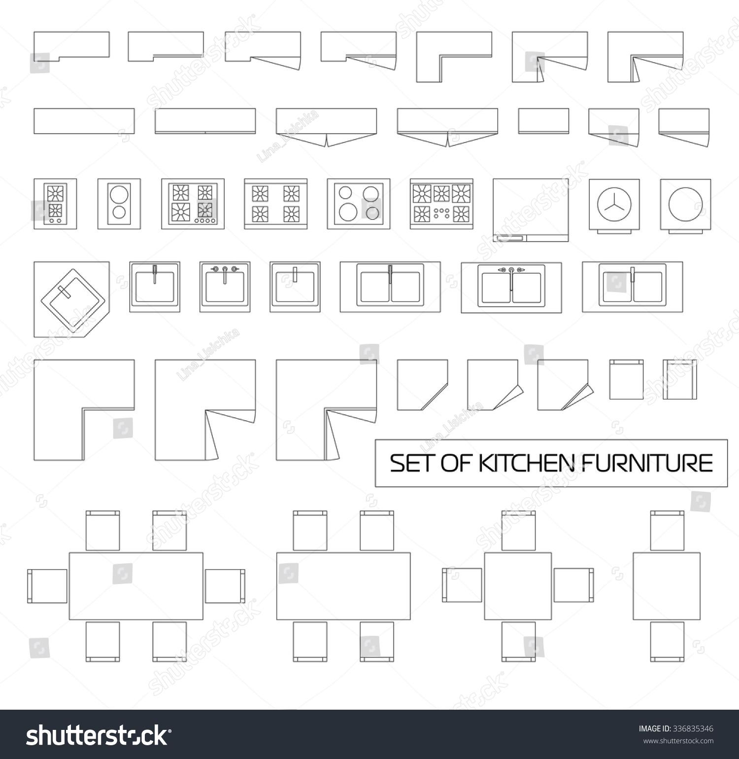 Kitchen Set Top View: Set Kitchen Furniture Top View Vector Stock Vector