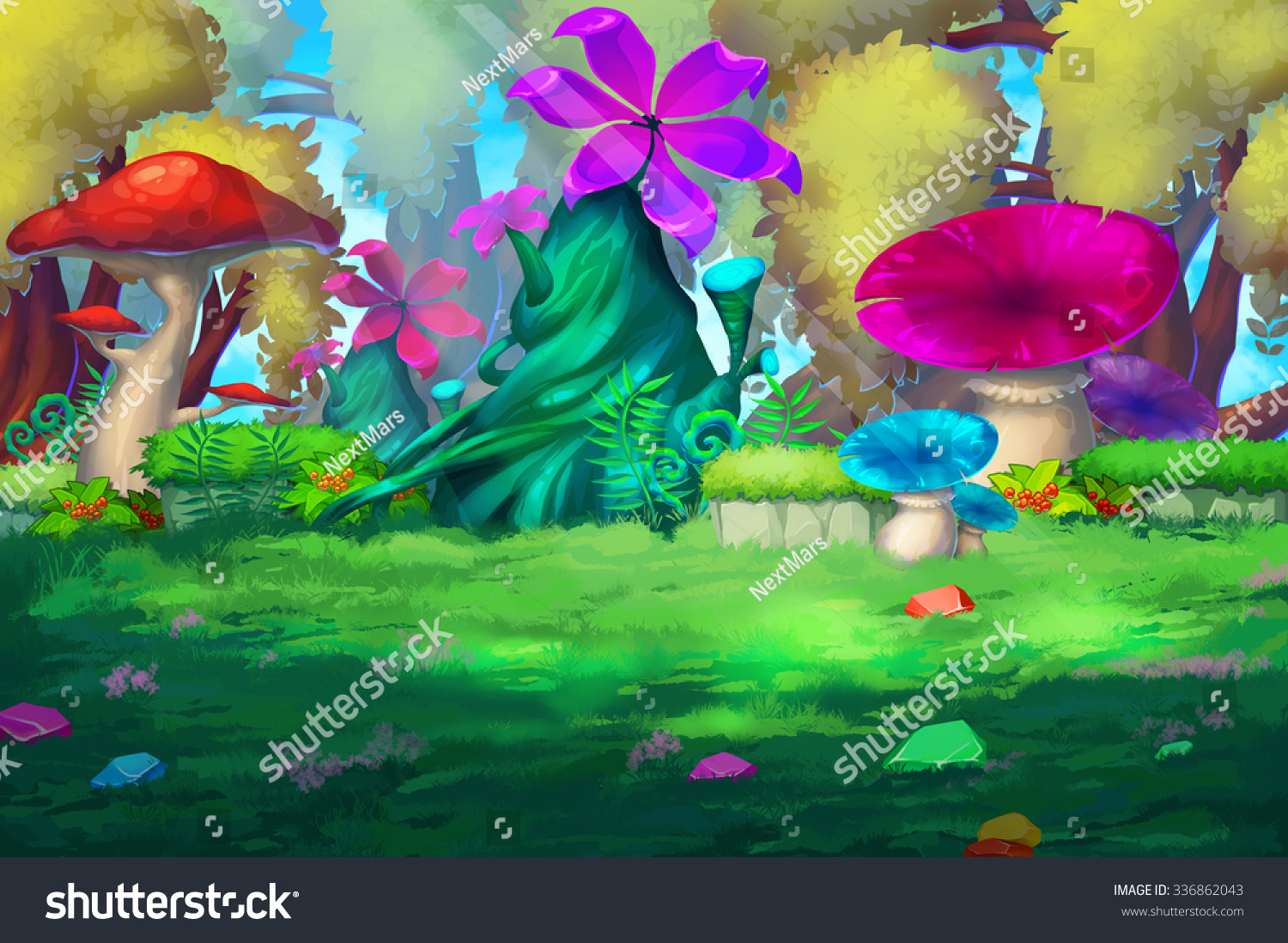 Illustration Colorful Forest Huge Flowers Mushroom Stock ... Anime Forest Clearing Background