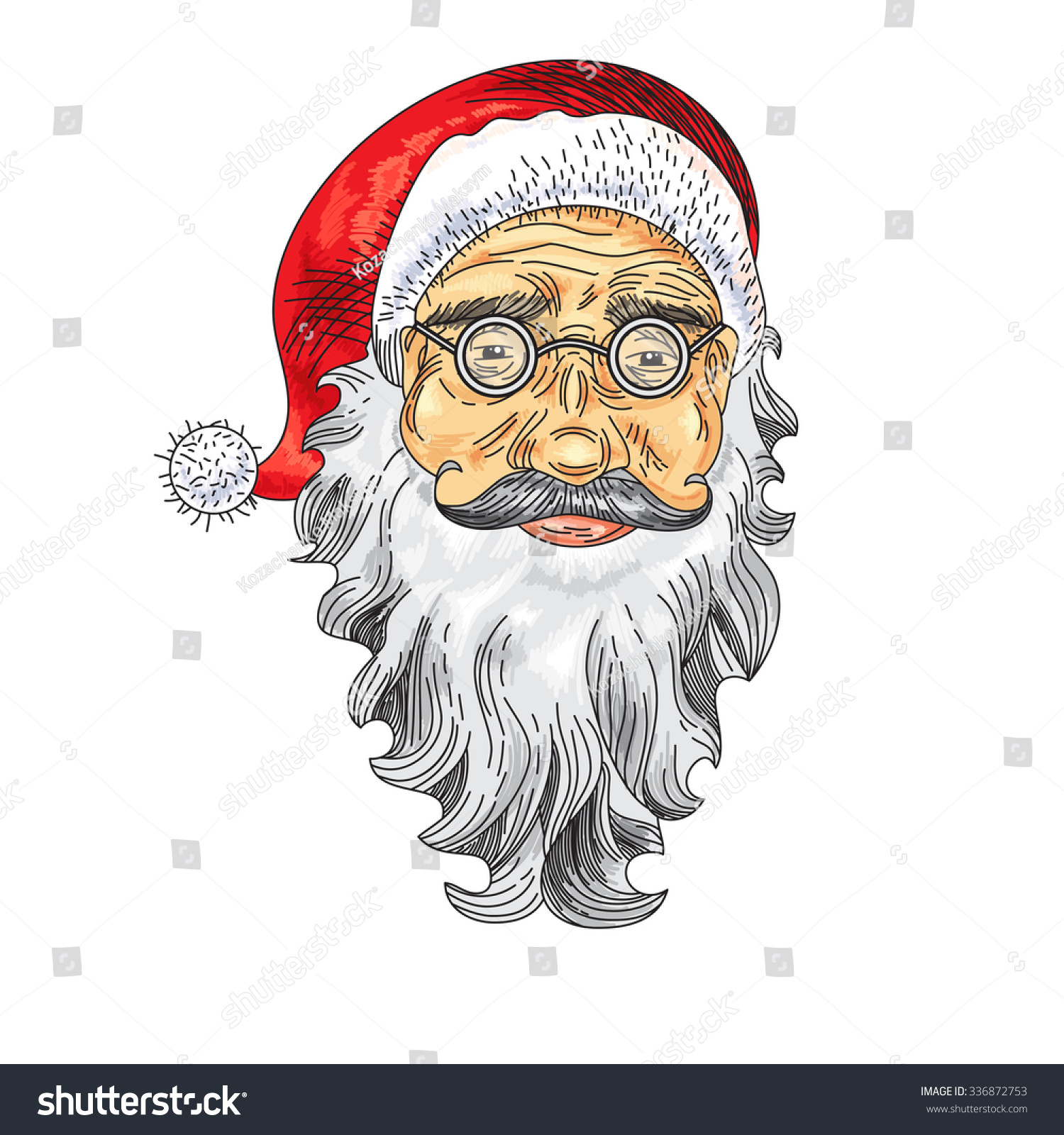 Santa Claus Face Color Icon Greeting Stock Vector Royalty Free