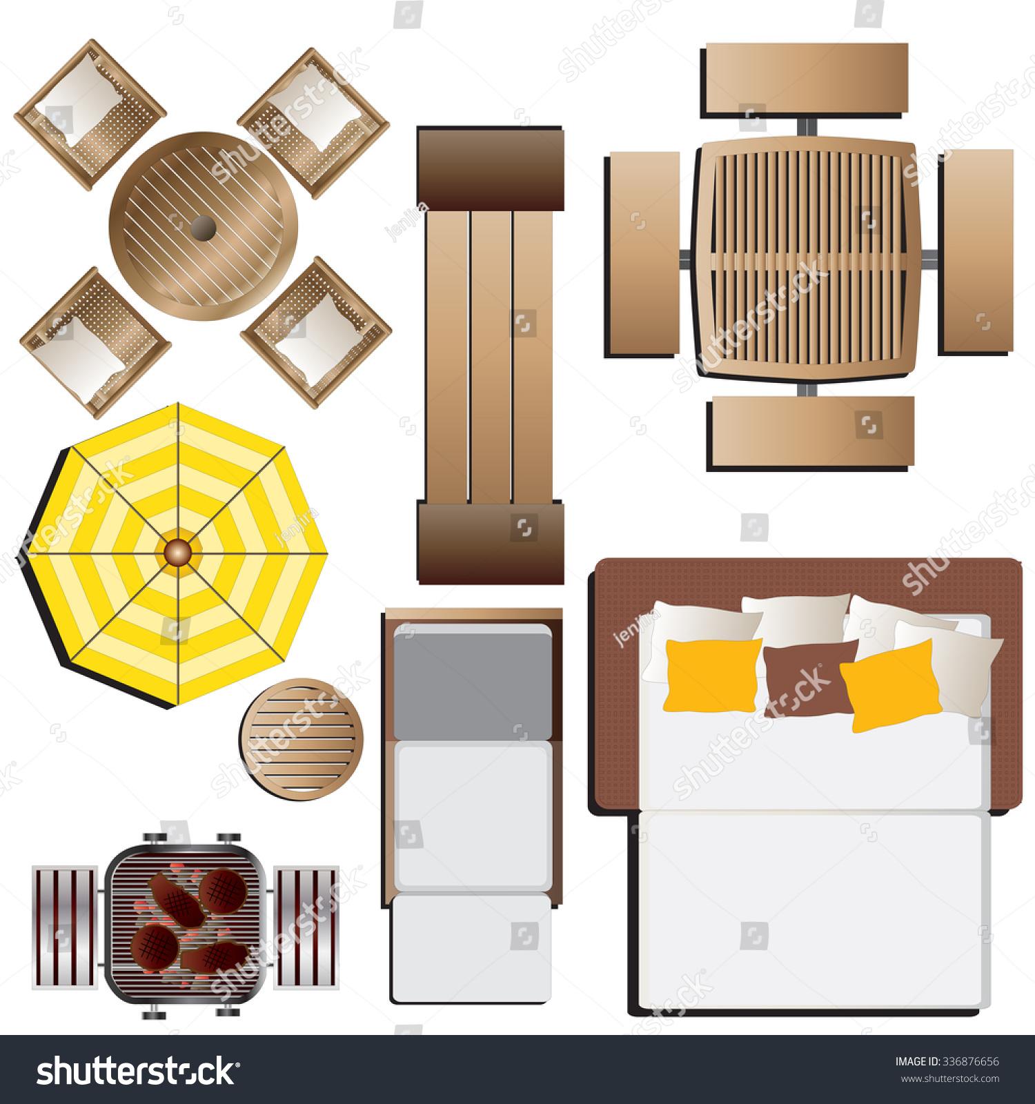 Furniture top view images - Outdoor Furniture Top View Set 15 For Landscape Design Vector Illustration