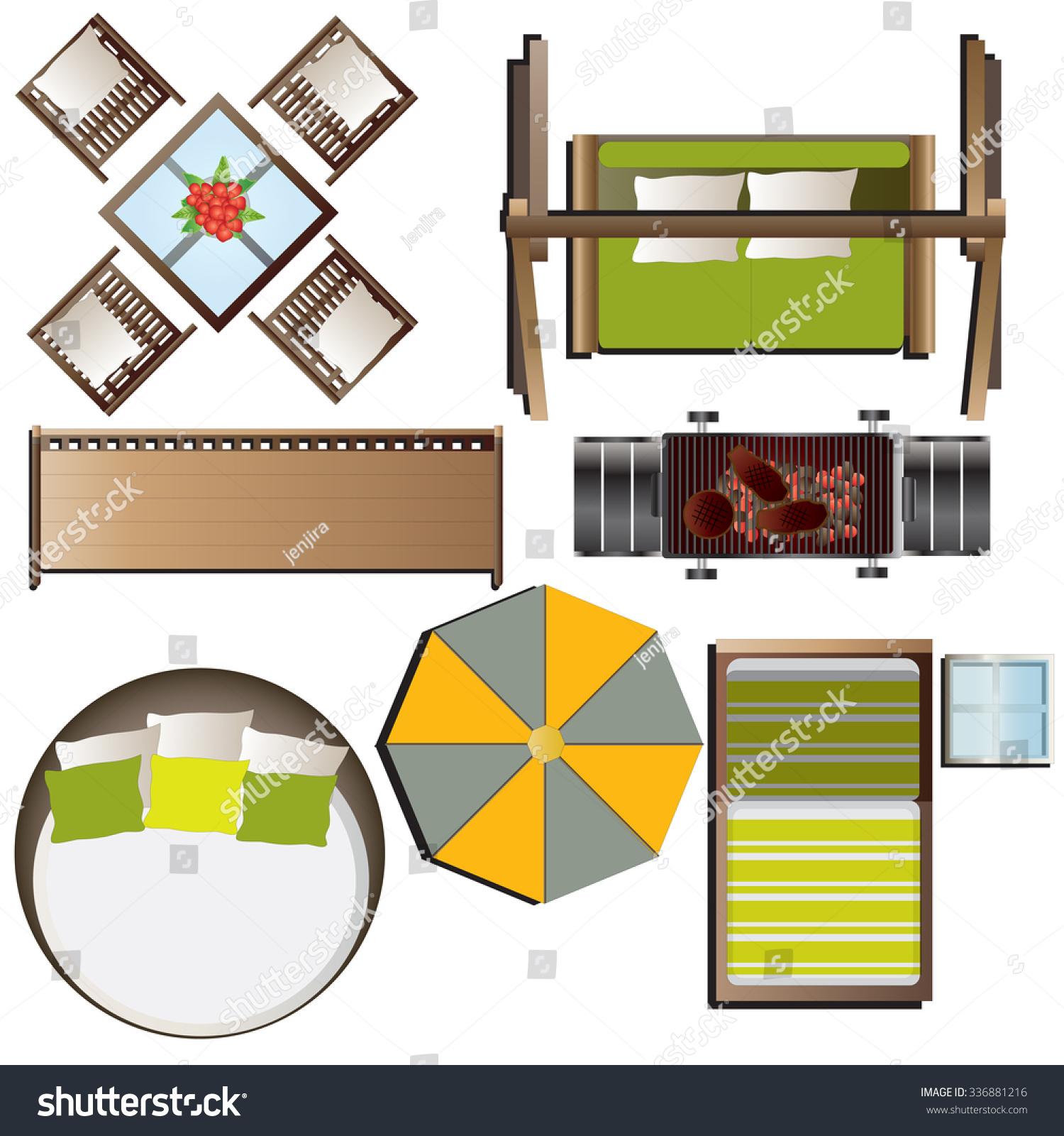 Outdoor Furniture Top View Set 16 For Landscape Design