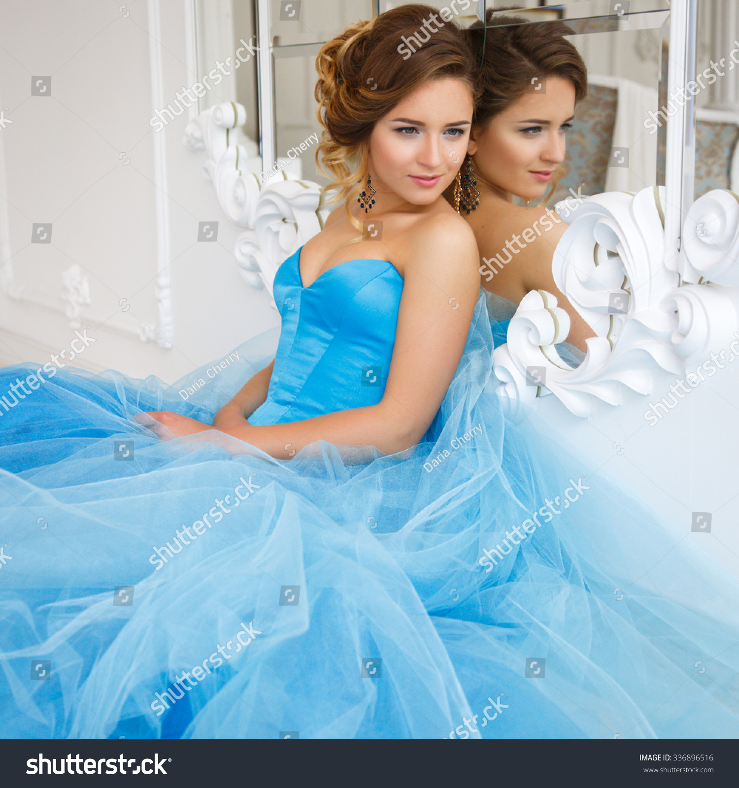 Beautiful Bride Gorgeous Blue Dress Cinderella Stock Photo (Download ...