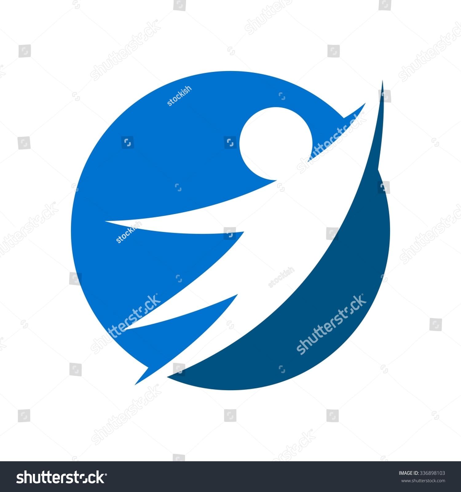 Swoosh Person Symbol Fitness Logo Logo Stock Vector Royalty Free