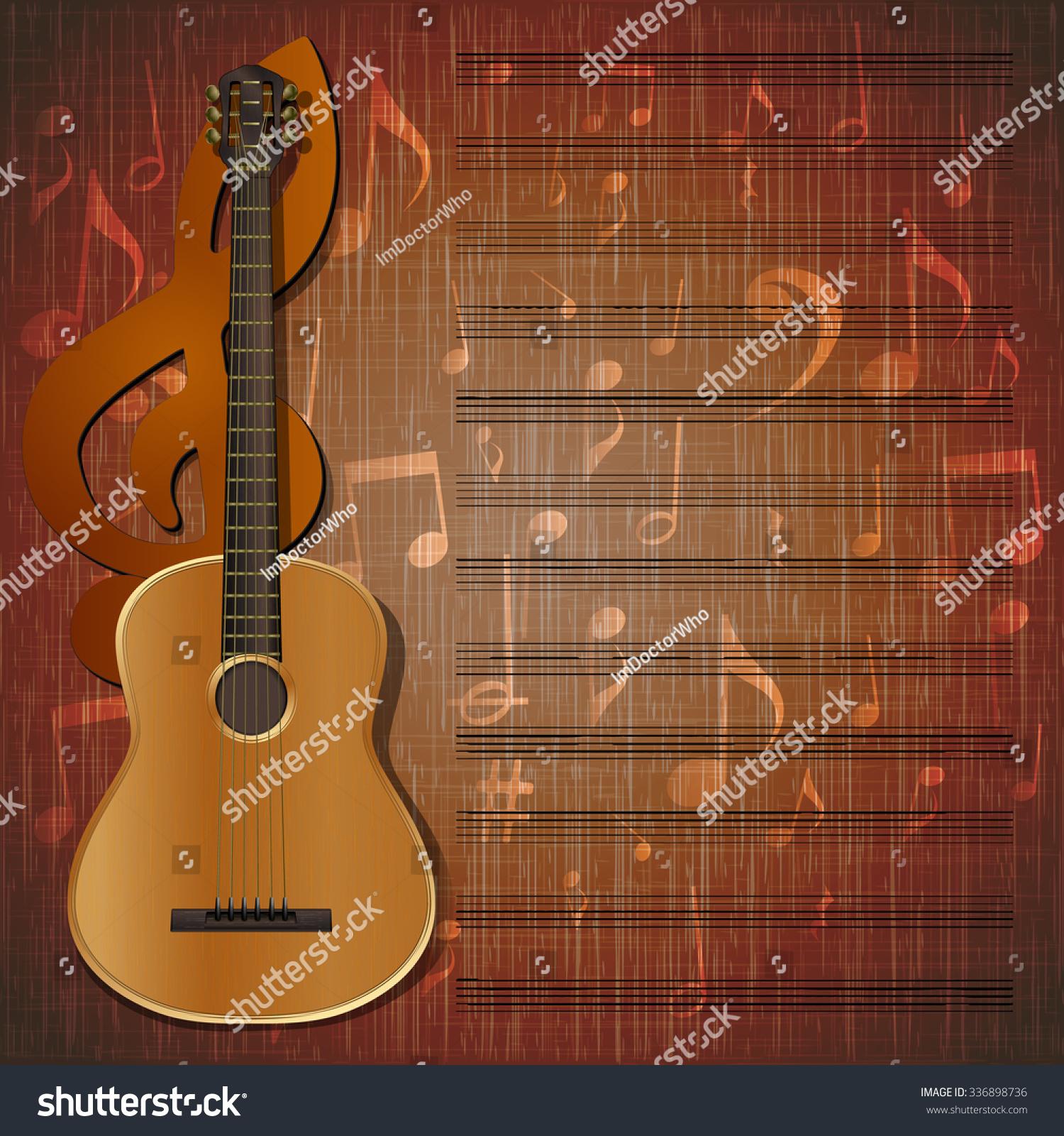 Vector Musical Background Frame Guitar Treble Stock Vector ...