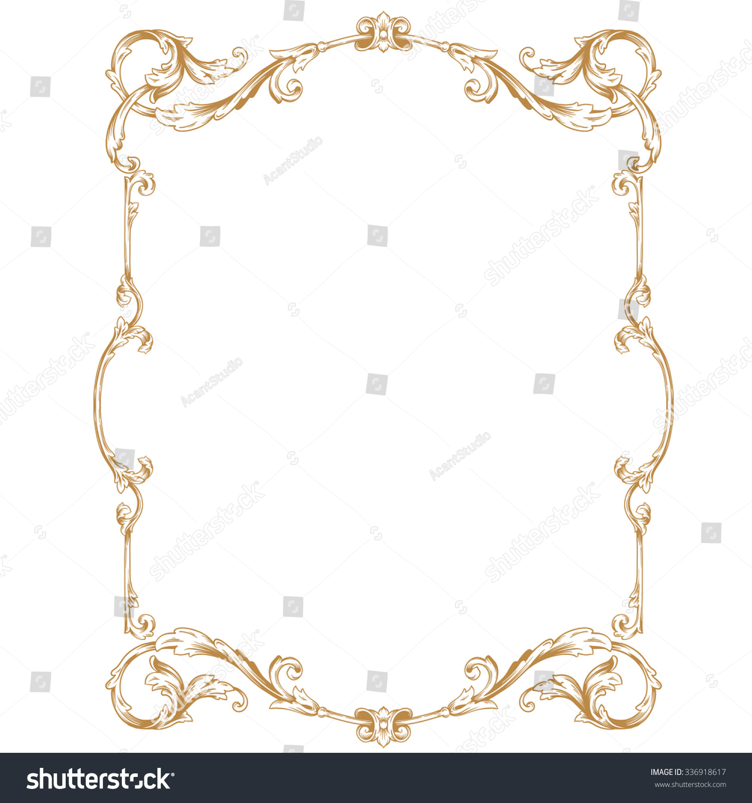 Antique Scroll Patterns: Premium Gold Vintage Baroque Frame Scroll Stock Vector