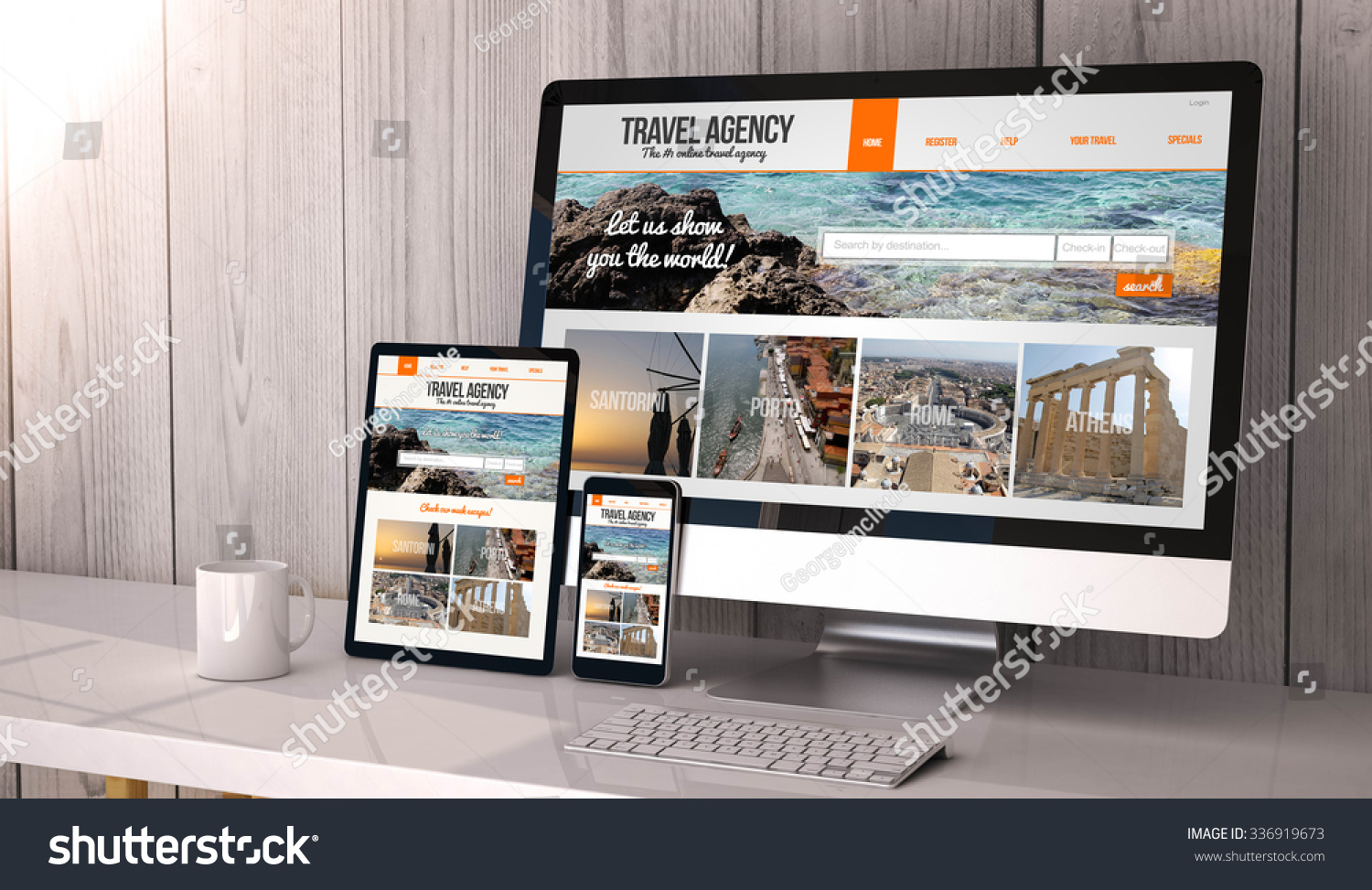 Digital Generated Devices On Desktop Responsive Stock Illustration ...