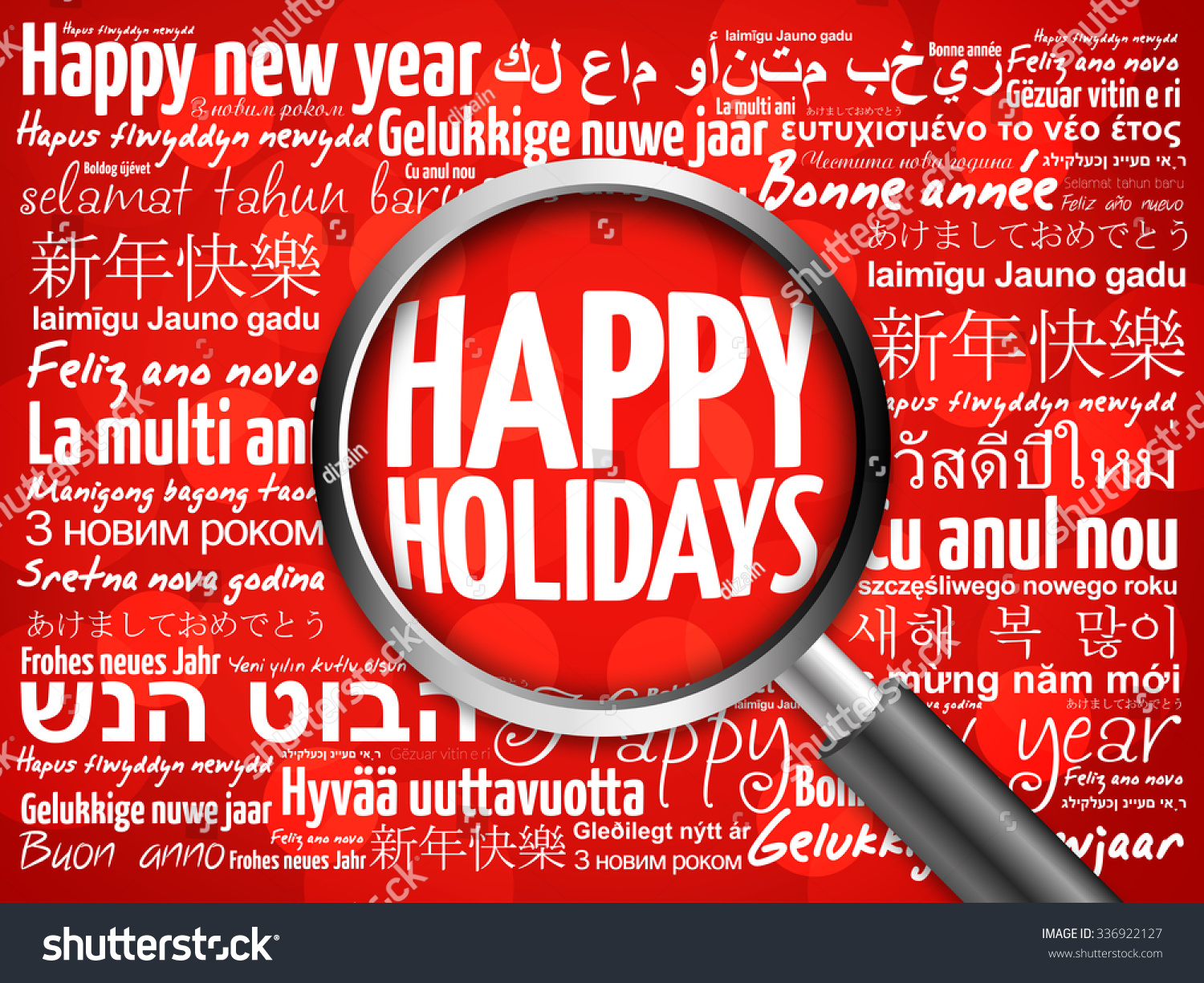 happy holidays happy new year in different languages red