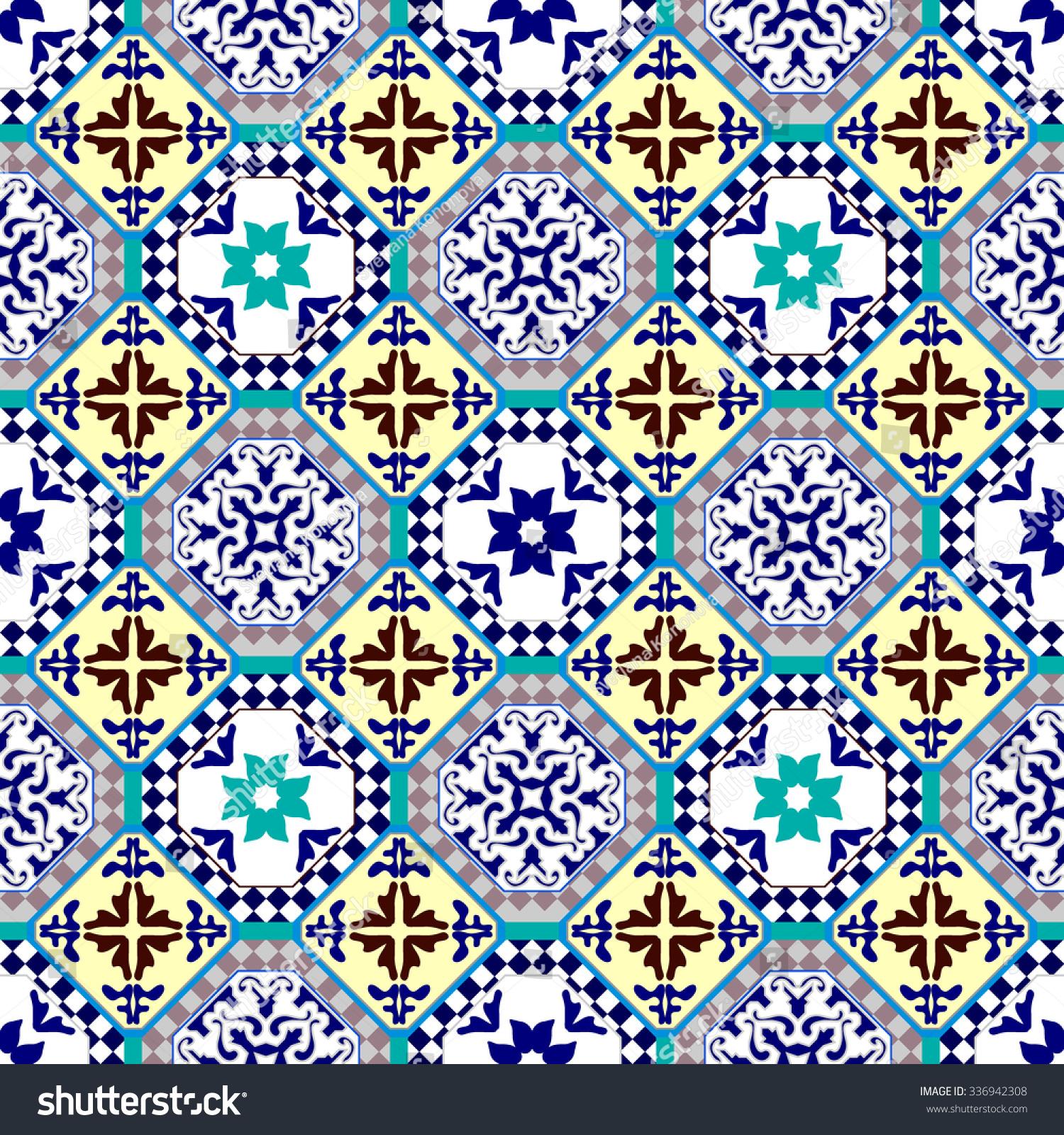 Ceramic Tiles Flooring Seamless Pattern Moroccan Stock