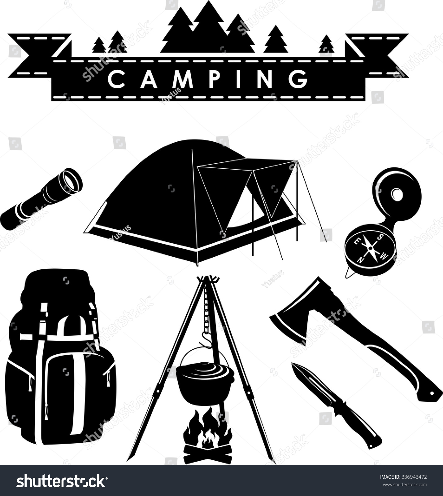 Silhouette Illustration Camping Equipment Objects Isolated ...