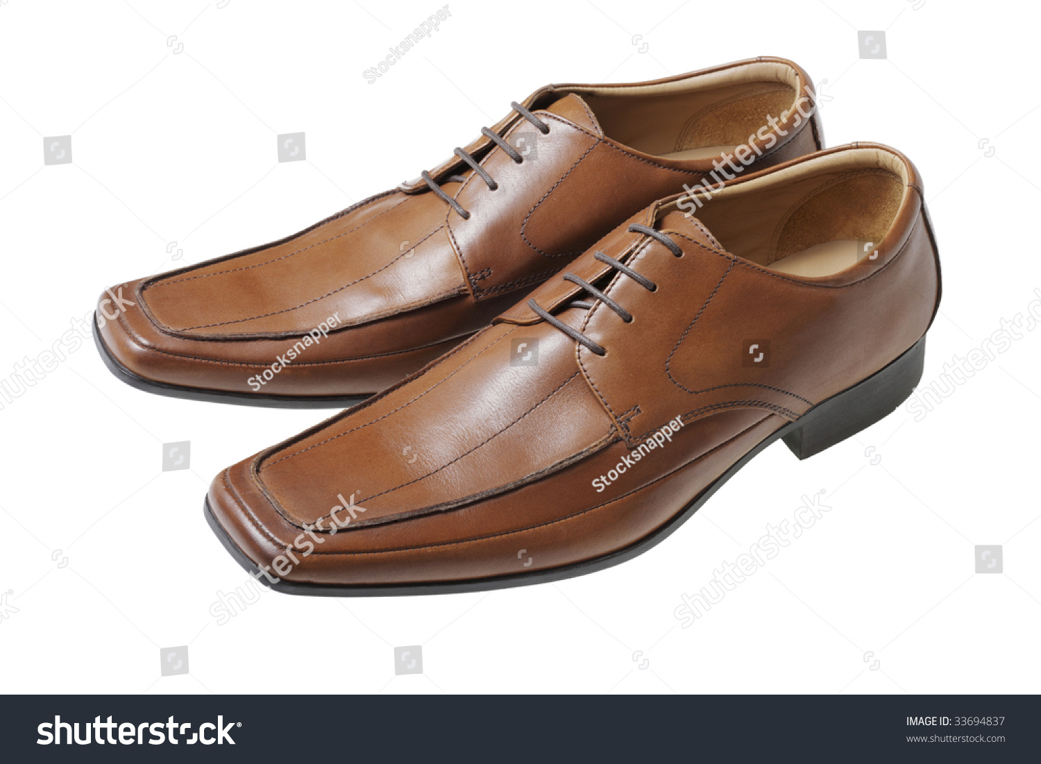 Mens Brown Leather Dress Shoes Stock Photo 33694837 - Shutterstock