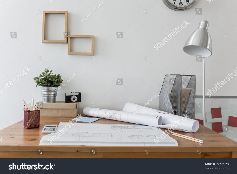 Messy Desk Architects Plans On Stock Photo 336952163 - Shutterstock