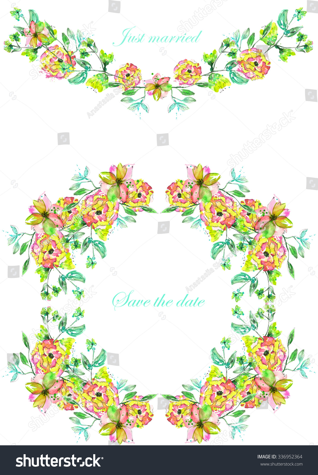 Circle Frame Wreath And Garland Of Yellow And Pink Flowers And