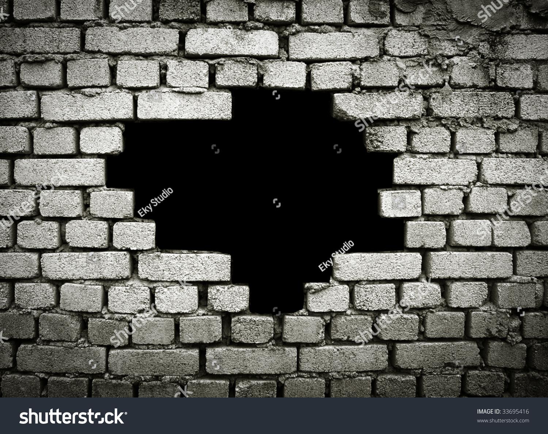 Large Hole On Brick Wall Stock Photo 33695416 Shutterstock