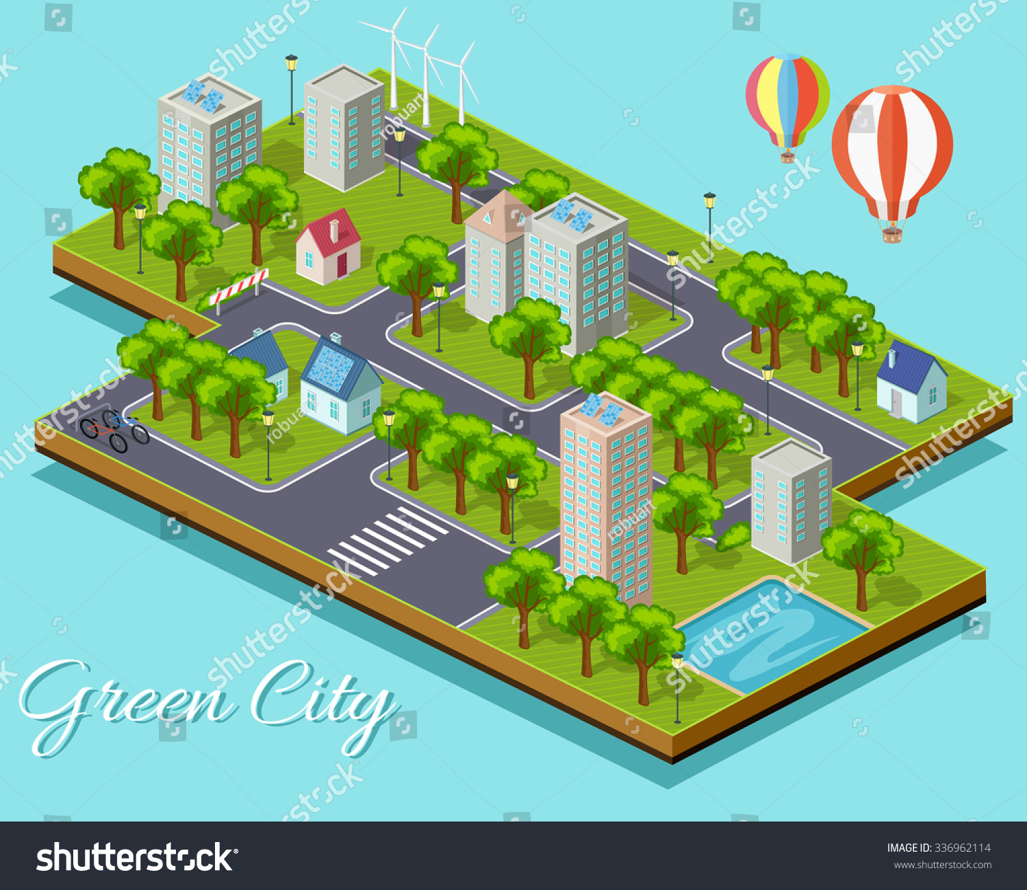 isometric isolated green city concept eco city green