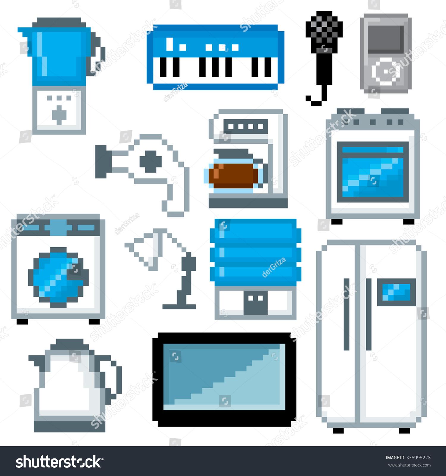 Household Appliances Icon Set Pixel Art Stock Vector HD (Royalty ...
