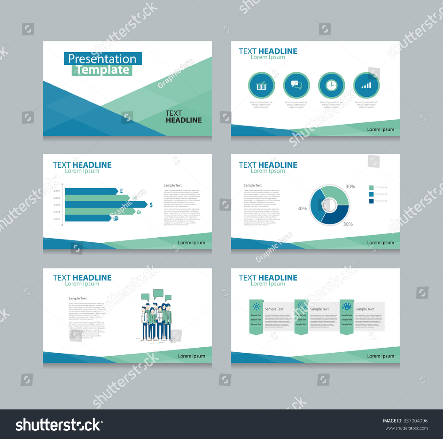 business presentation slide template design flat stock vector, Sample Presentation Slides Template, Presentation templates