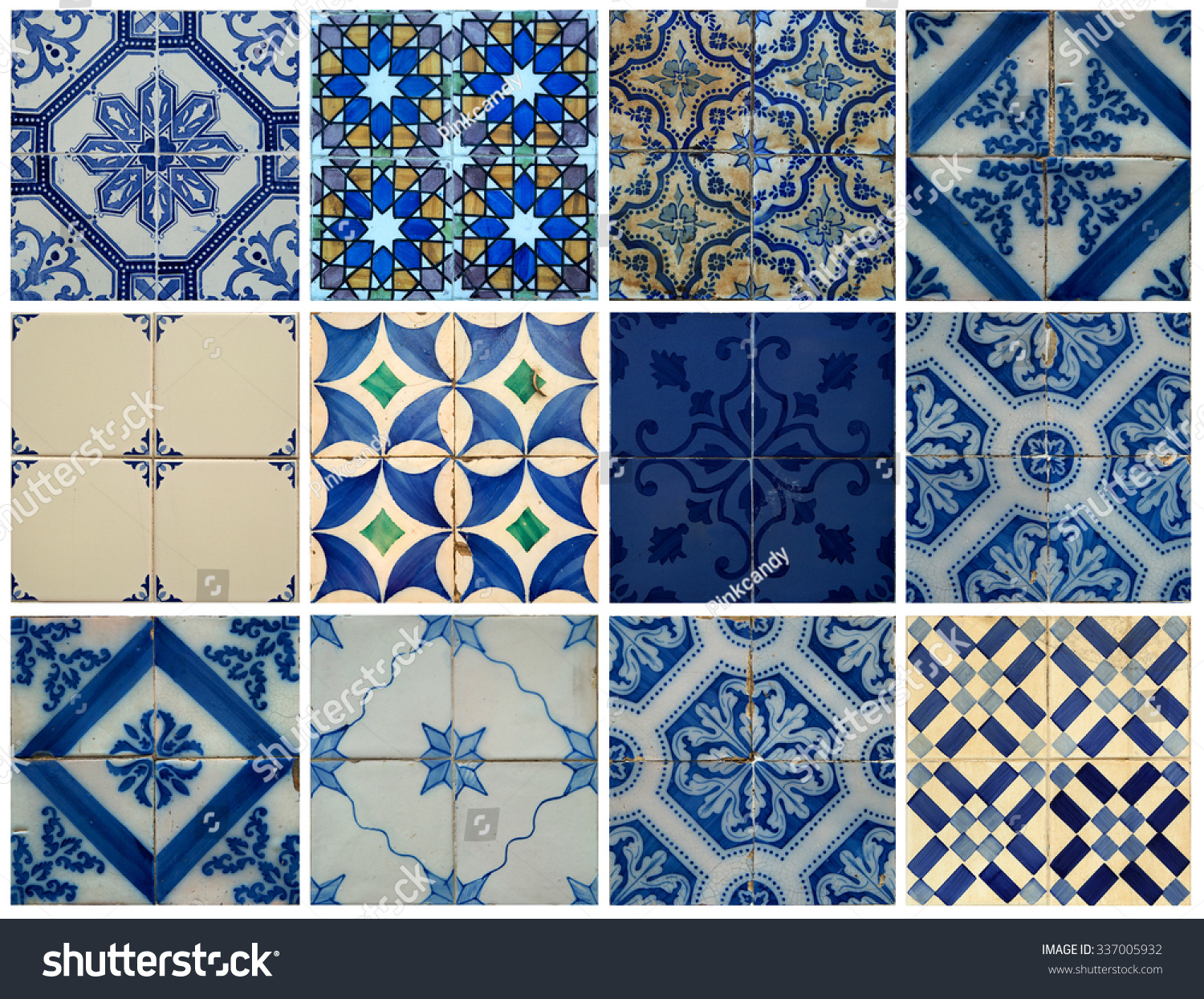 Collage of different blue pattern tiles in Lisbon, Portugal | EZ Canvas