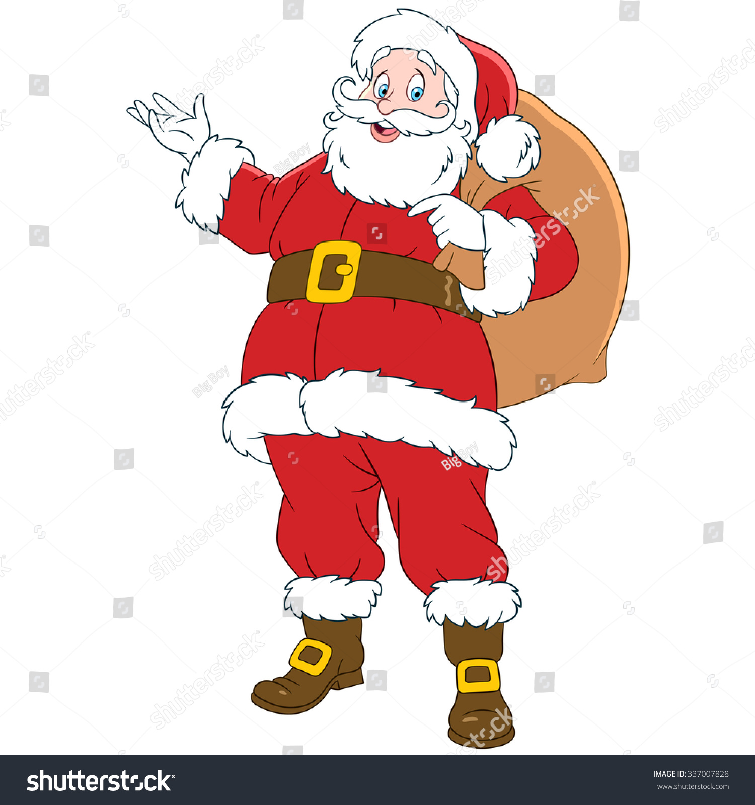 Santa Claus Sack Gifts Cartoon Character Stock Vector 337007828 ...
