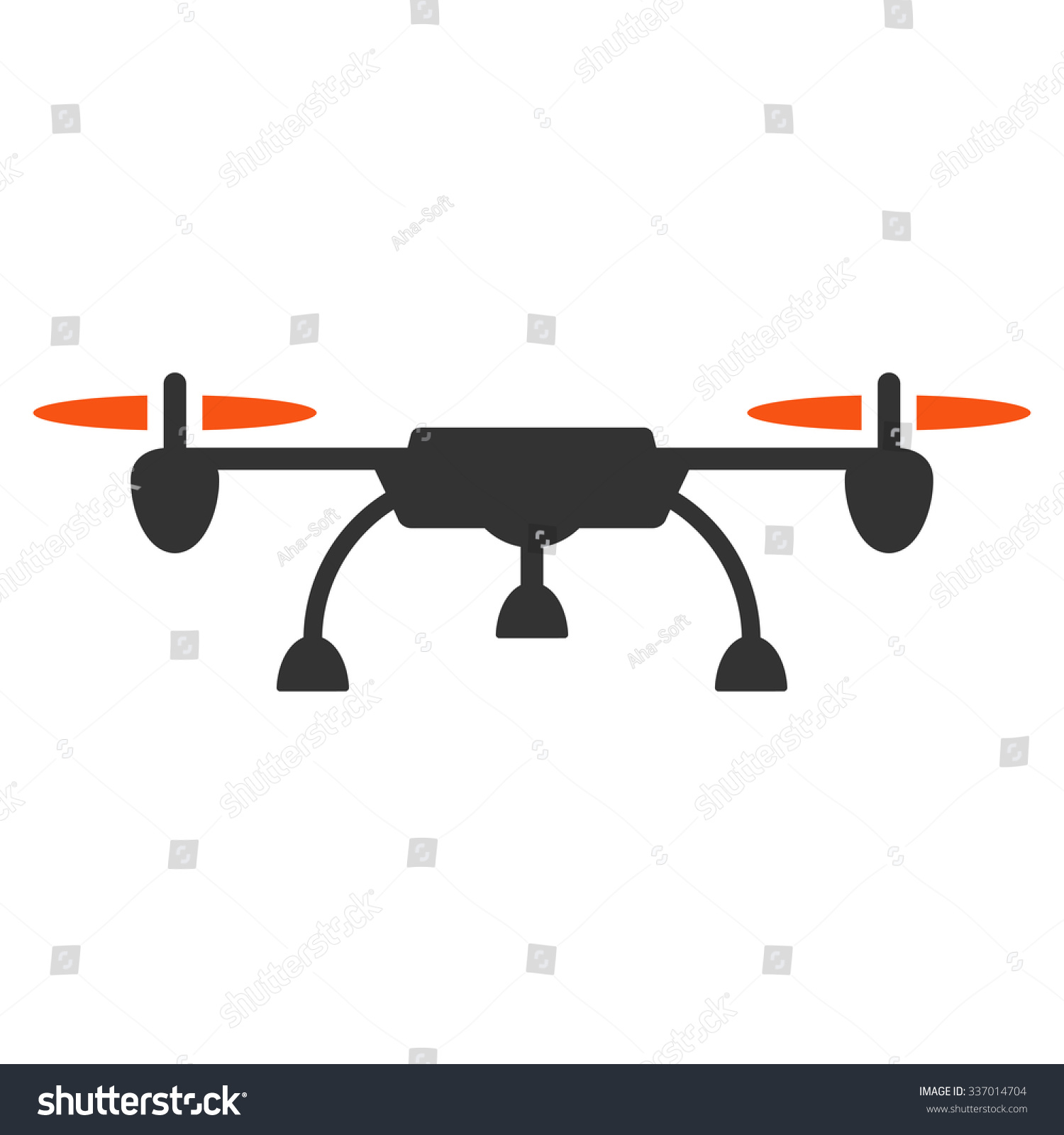 Drone Vector Icon Style Is Flat Bicolor Orange And Gray Symbol Rounded Angles