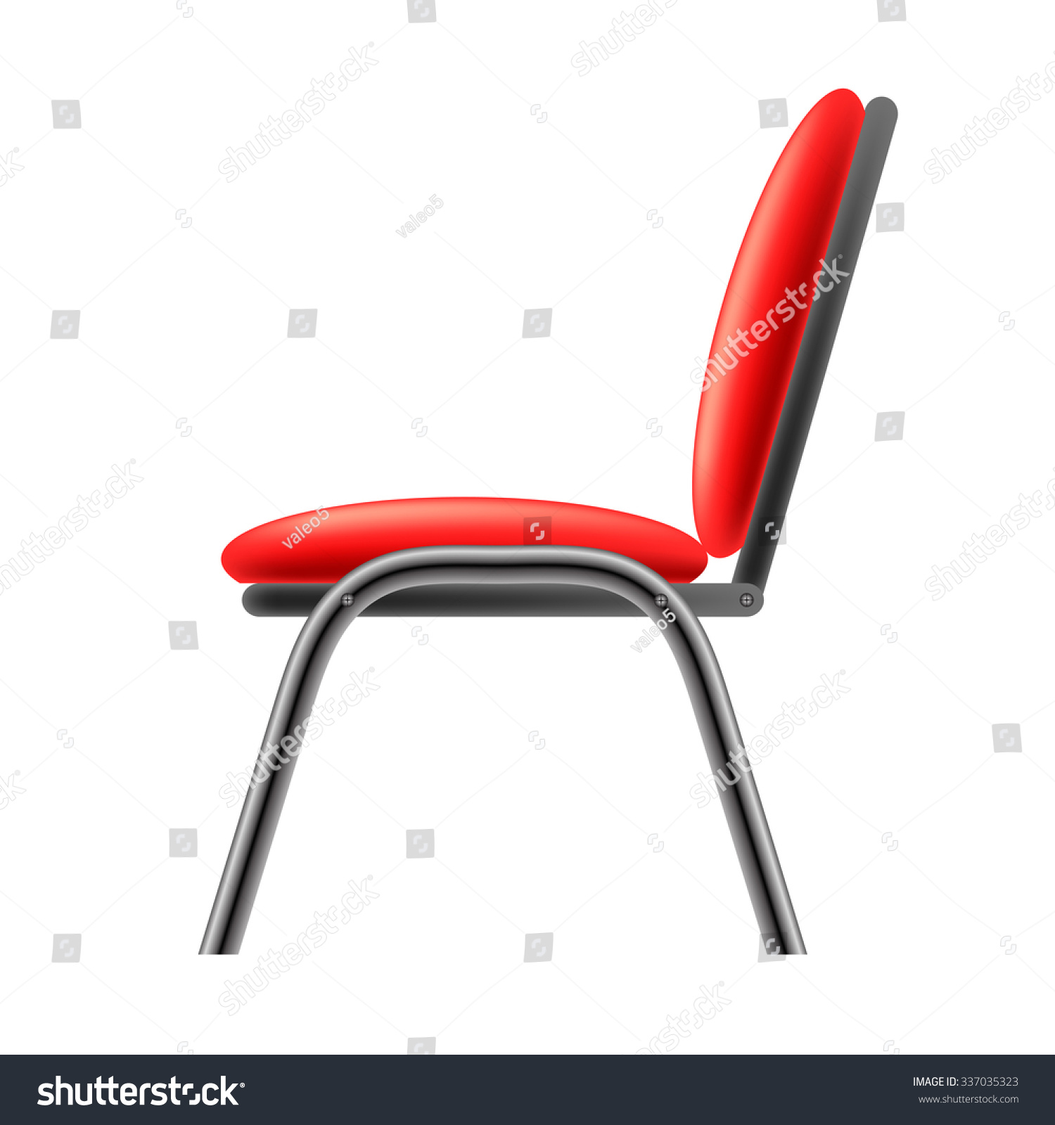 Vector Single Red fice Chair Isolated Stock Vector