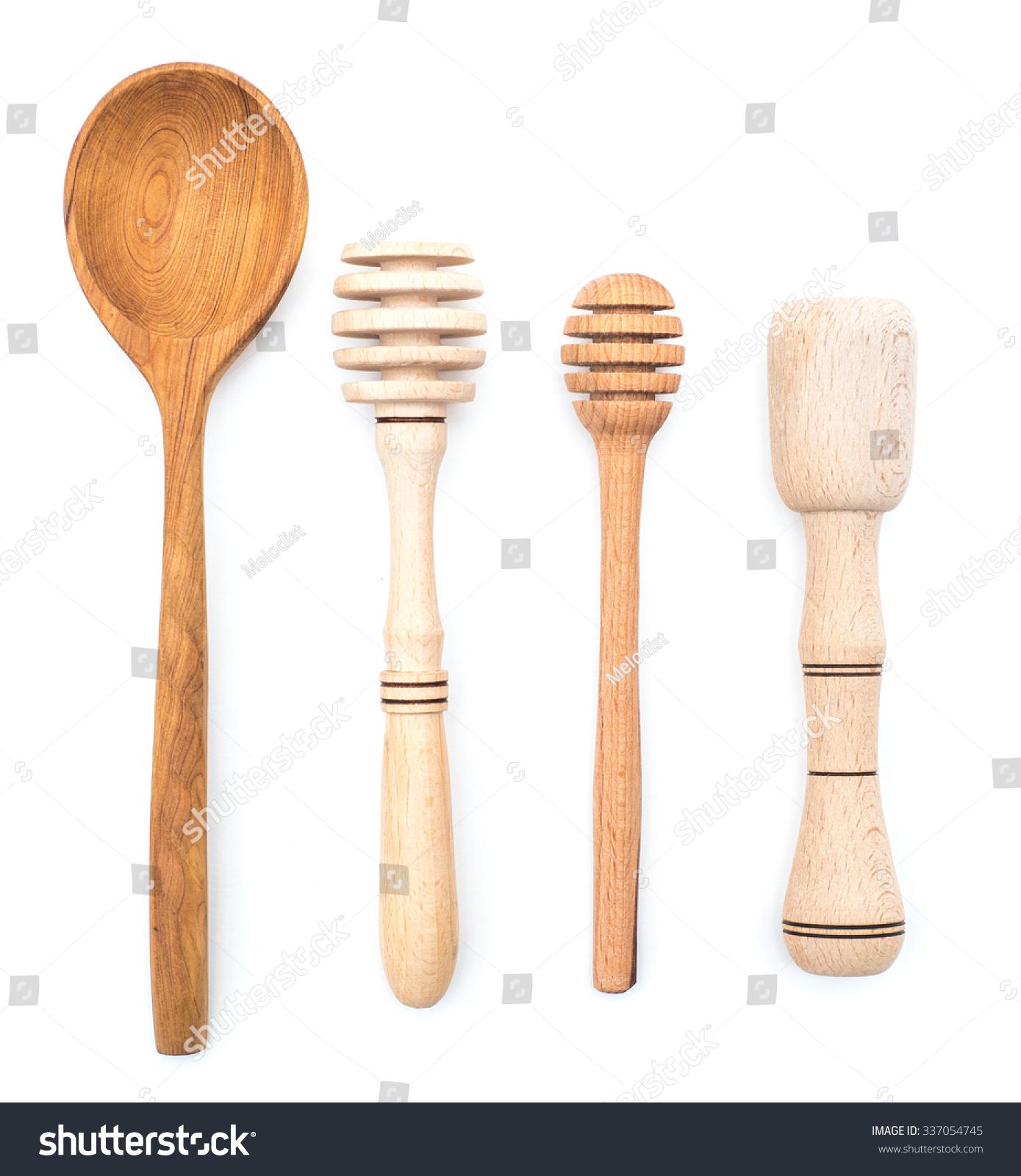 Set Wooden Kitchenware Isolated On White Stock Photo 337054745 ...