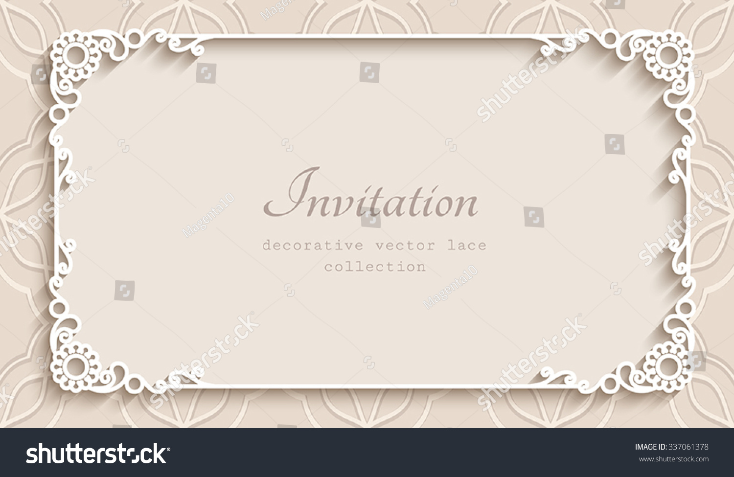 Rectangle Lace Frame Cutout Paper Decoration Stock Vector