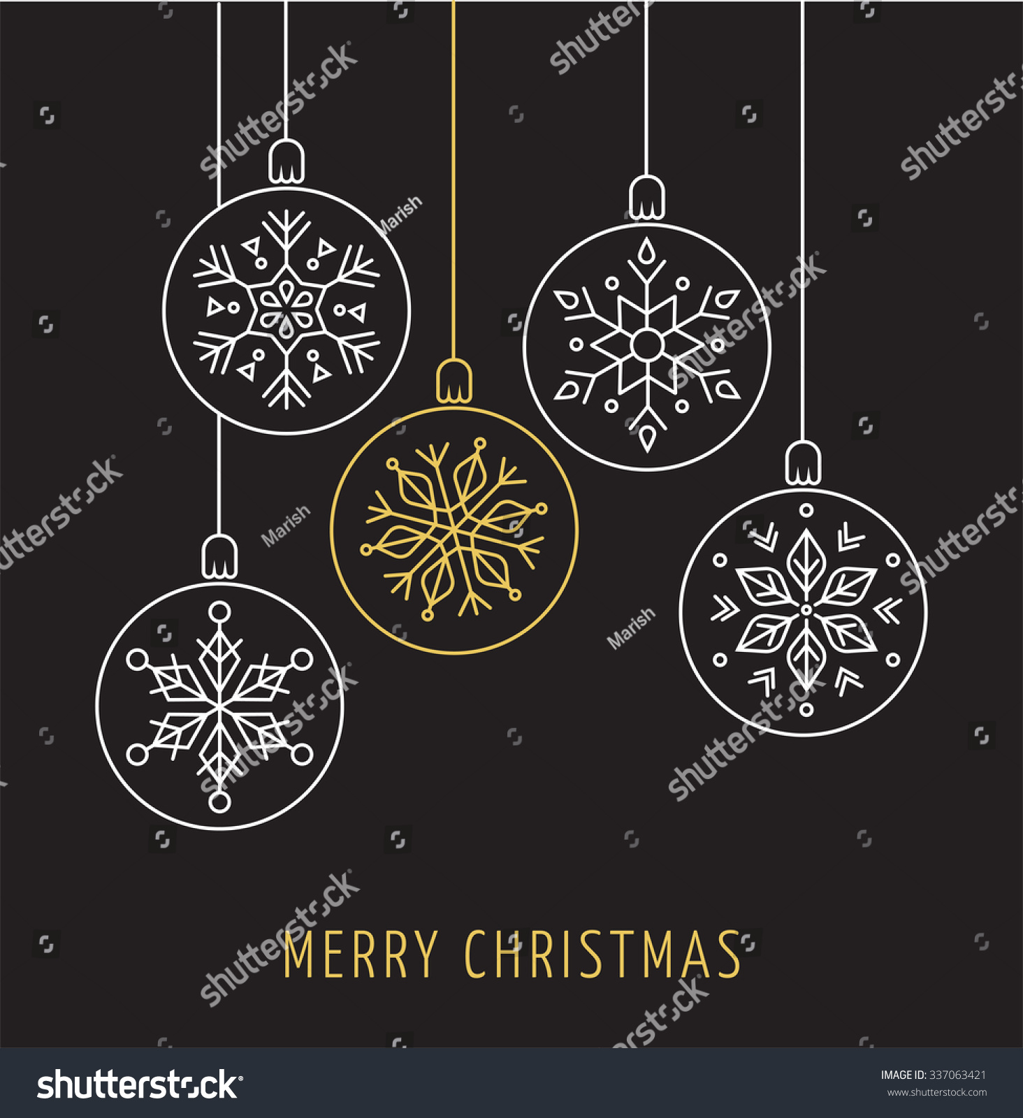 snowlakes geometric christmas ornaments background stock vector