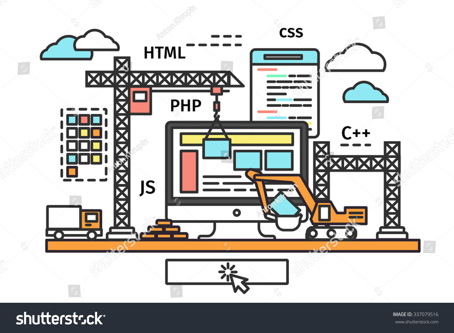 Thin line flat design web page stock illustration for Building design website