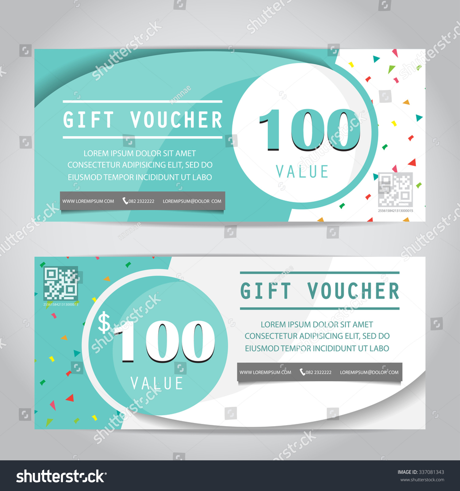 confetti gift voucher certificate coupon template stock vector 337081343 shutterstock. Black Bedroom Furniture Sets. Home Design Ideas