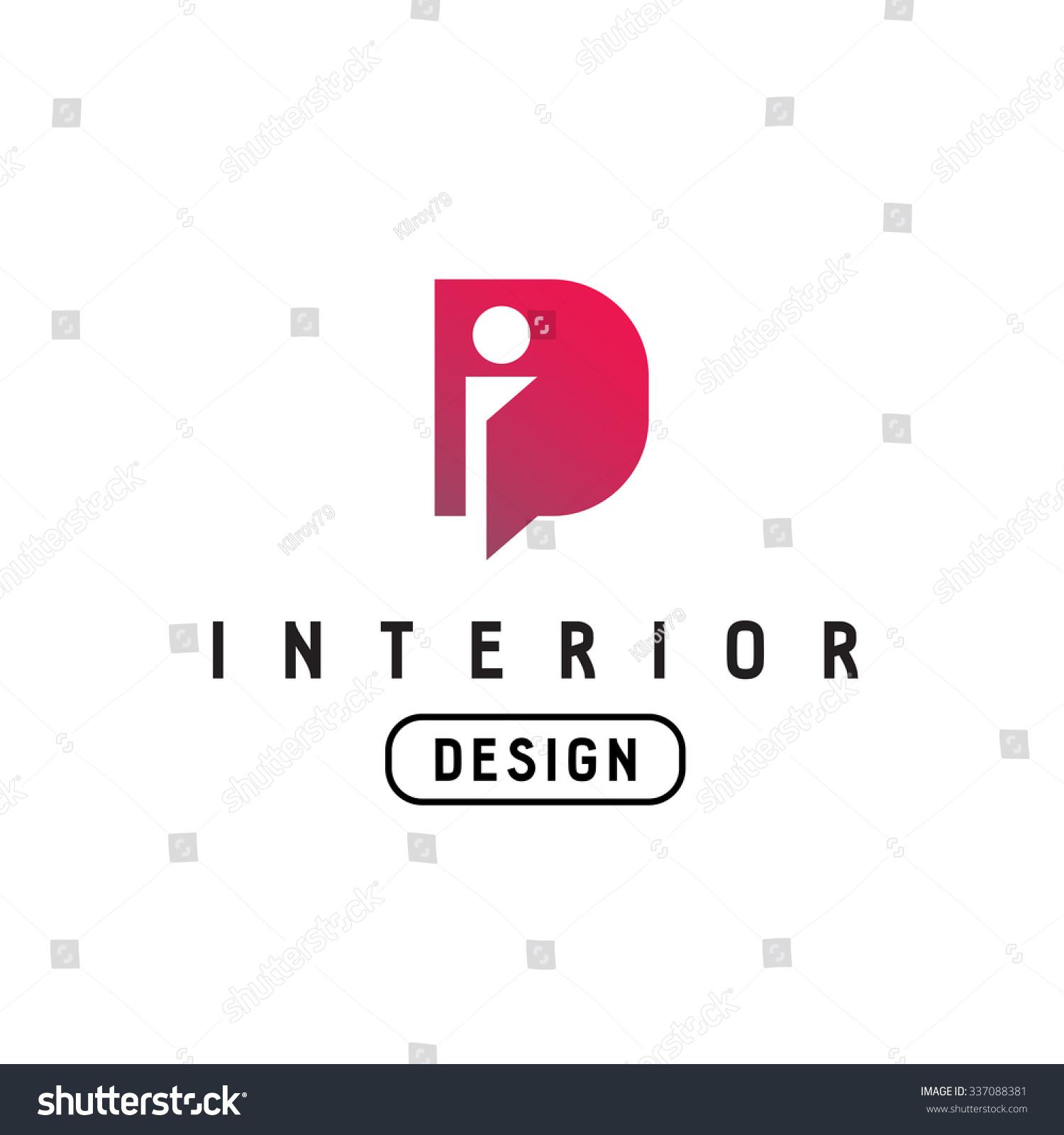 Letter I And D Monogram Logo Interior Design Abbreviation Ligature Sign Open Door Concept